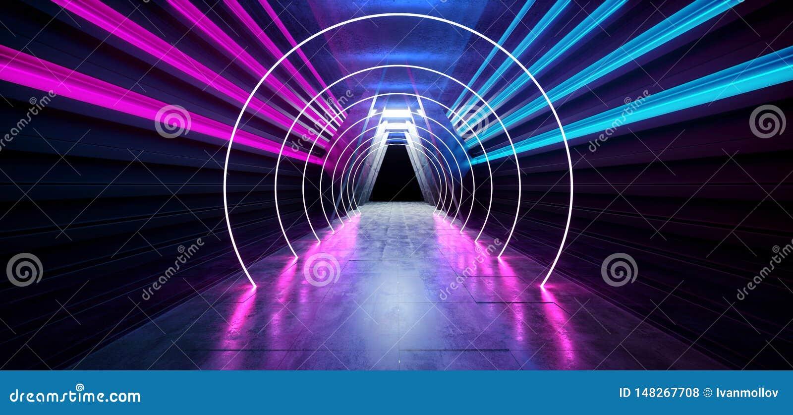 激光展示阶段霓虹减速火箭的现代科学幻想小说未来派典雅的未来具体走廊三角塑造黑暗的空的陈列室演播室