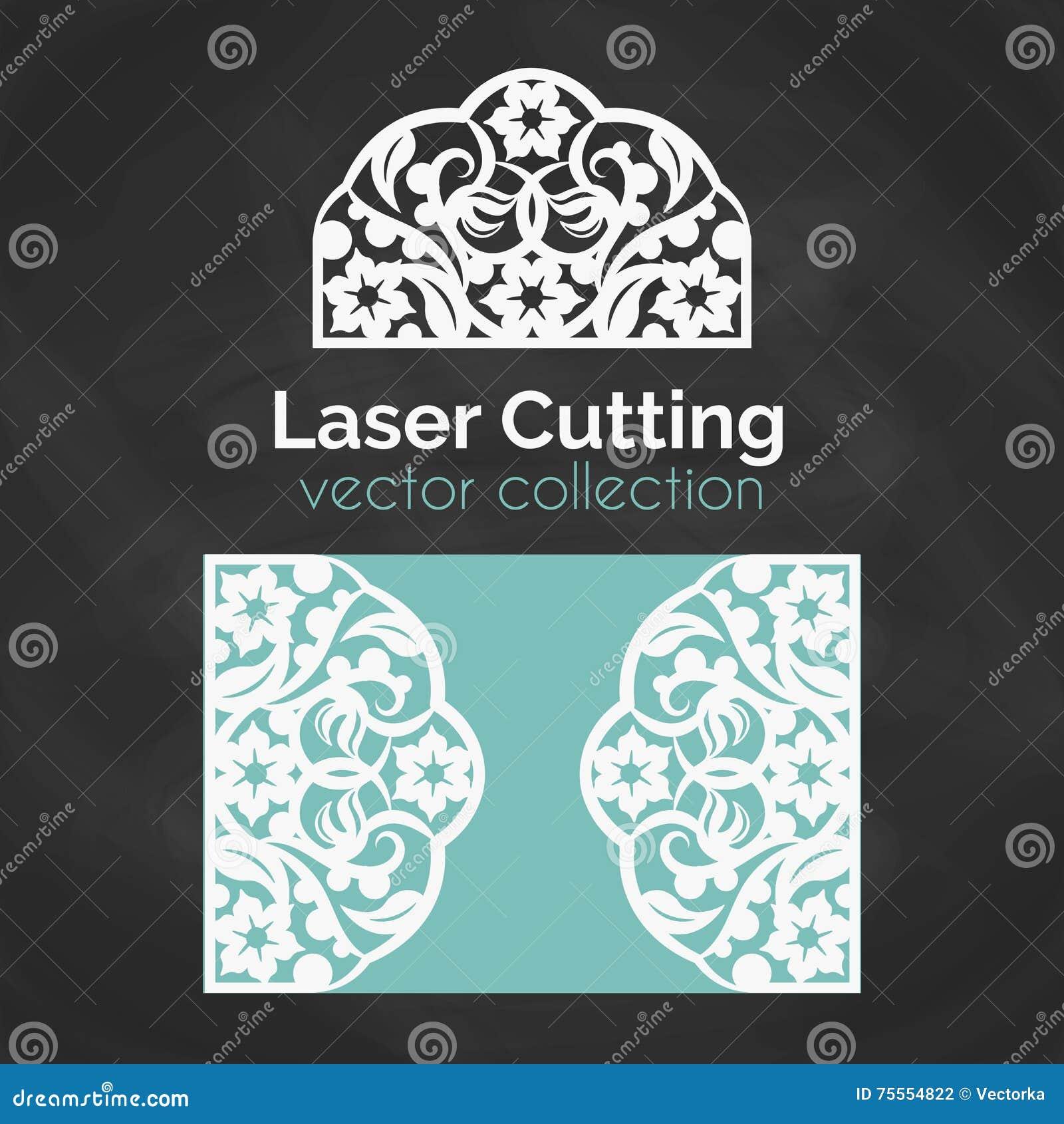 激光裁减卡片 激光切口的模板 与抽象装饰的保险开关例证 冲切的婚姻的邀请