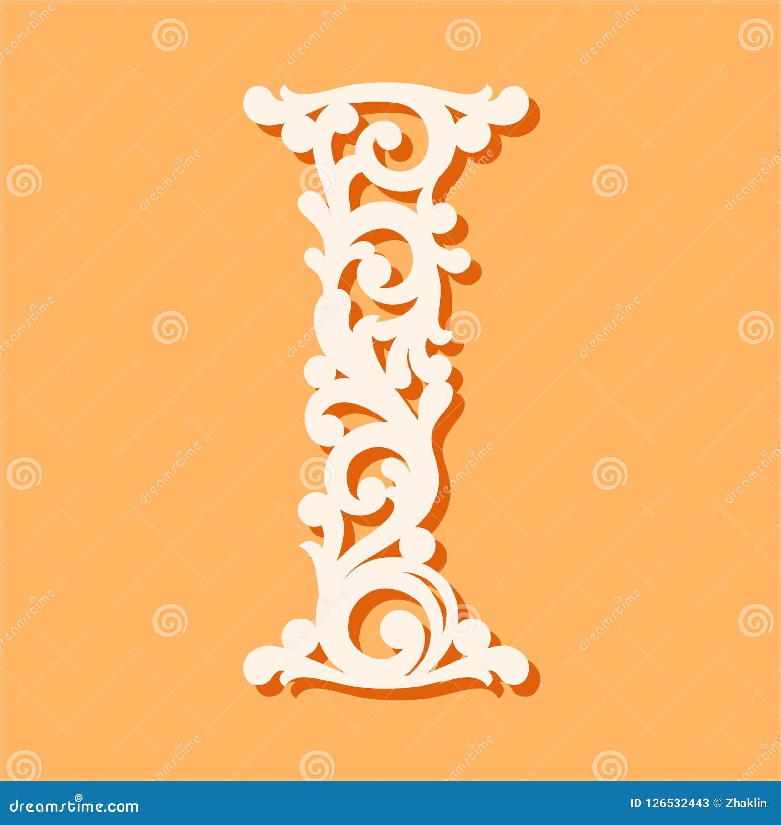 激光裁减模板 最初的组合图案信件 花梢花卉字母表信件
