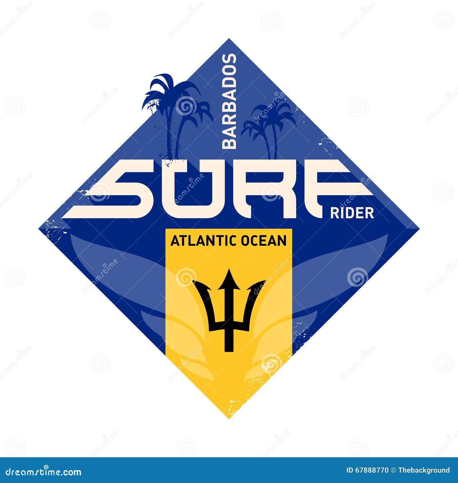 激动人心的印刷品 大西洋冲浪者标签 巴巴多斯coas