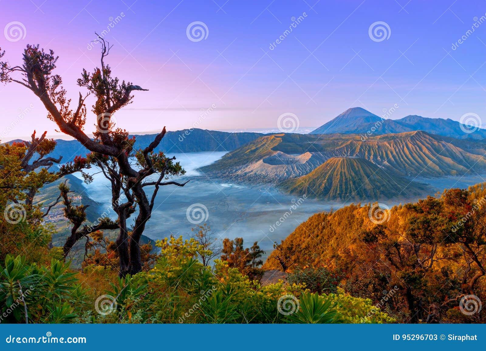 火山在日出的Bromo腾格尔塞梅鲁火山国家公园 Java