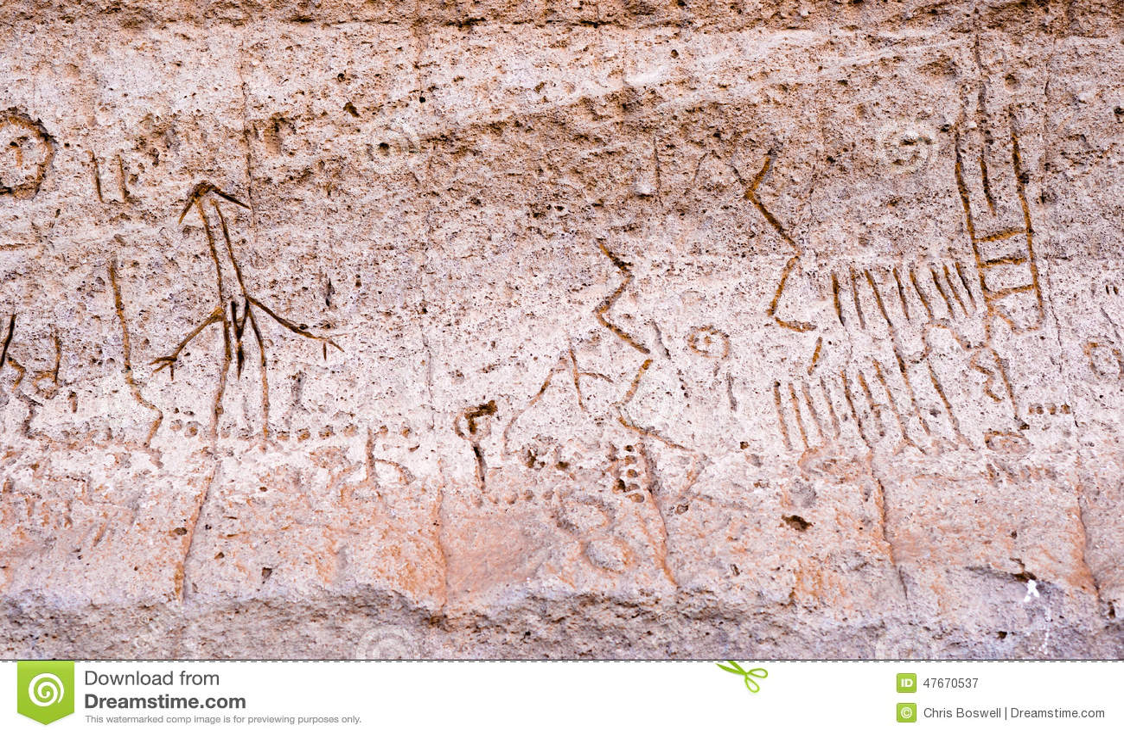 火山岩床NM刻在岩石上的文字点Pictopraphs古老默多克峭壁艺术