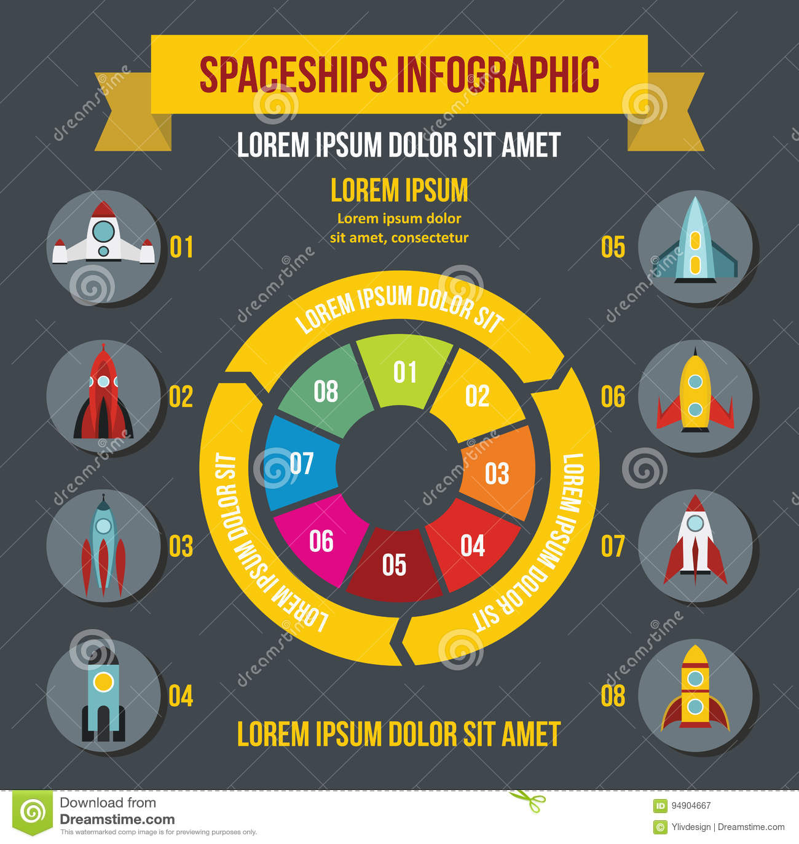火箭队太空飞船infographic概念,平的样式