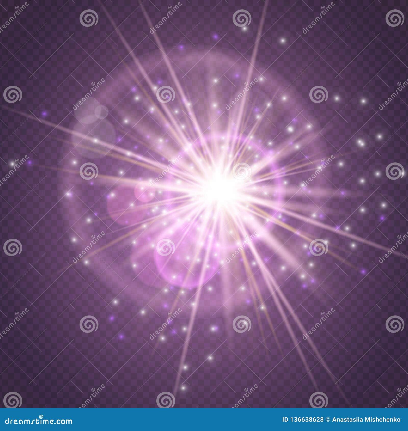 火花闪烁发光,星爆炸在紫色透明背景和透镜火光隔绝的爆炸焕发 展示,音乐会