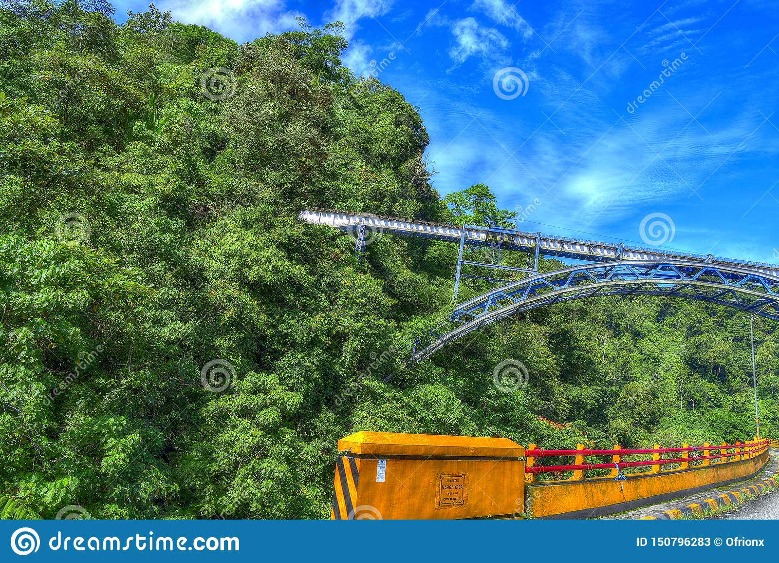 火车桥梁风景,虽然有汽车桥梁篱芭和天空蔚蓝的森林