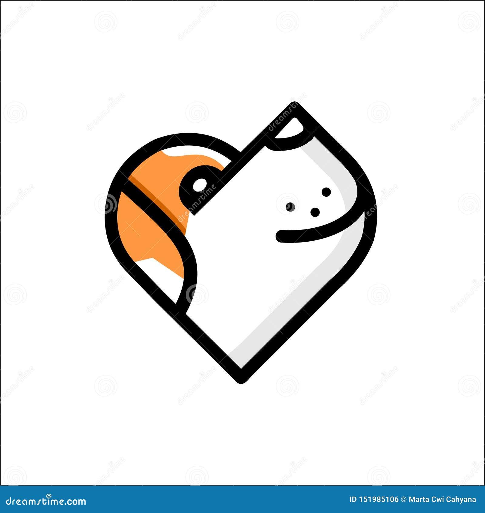 灯光管制线在白色背景的逗人喜爱的狗商标的例证