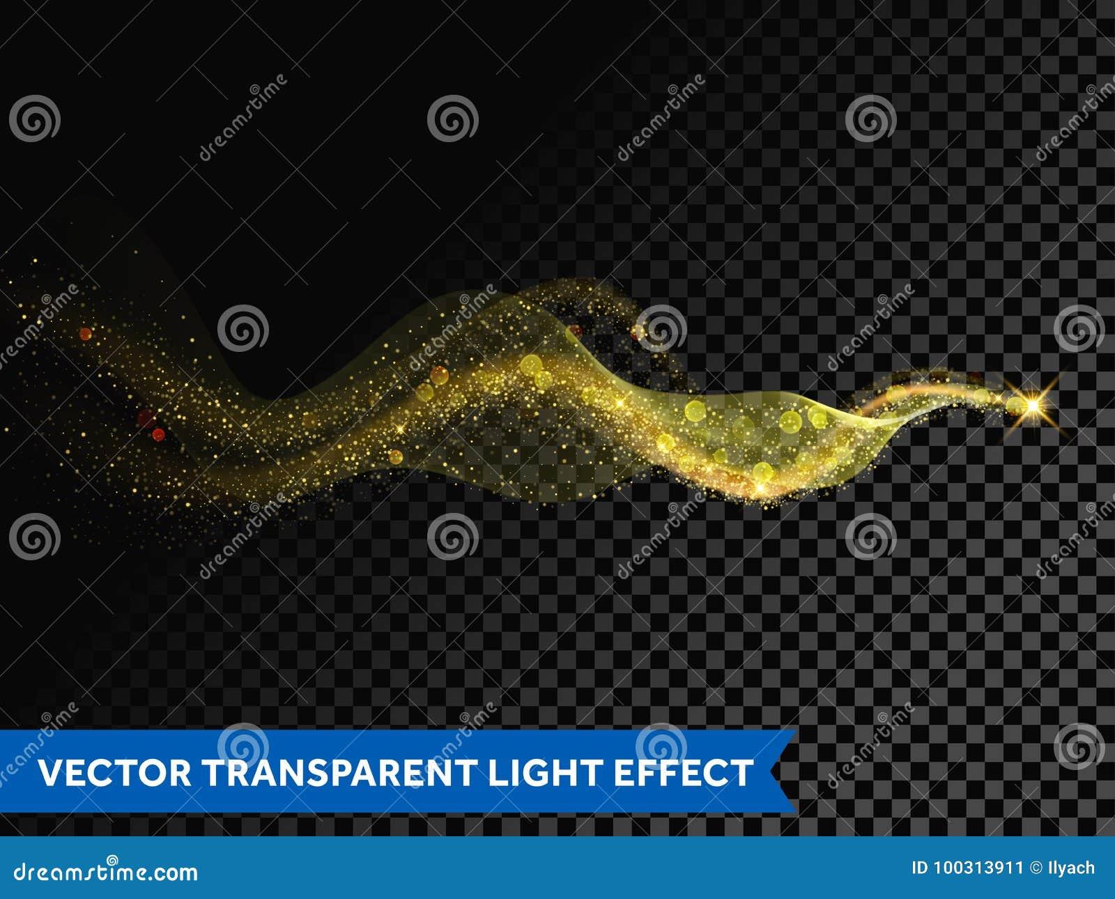灯光管制线金不可思议的闪闪发光足迹波浪作用对透明背景 传染媒介闪烁光微粒飘动踪影和bokeh