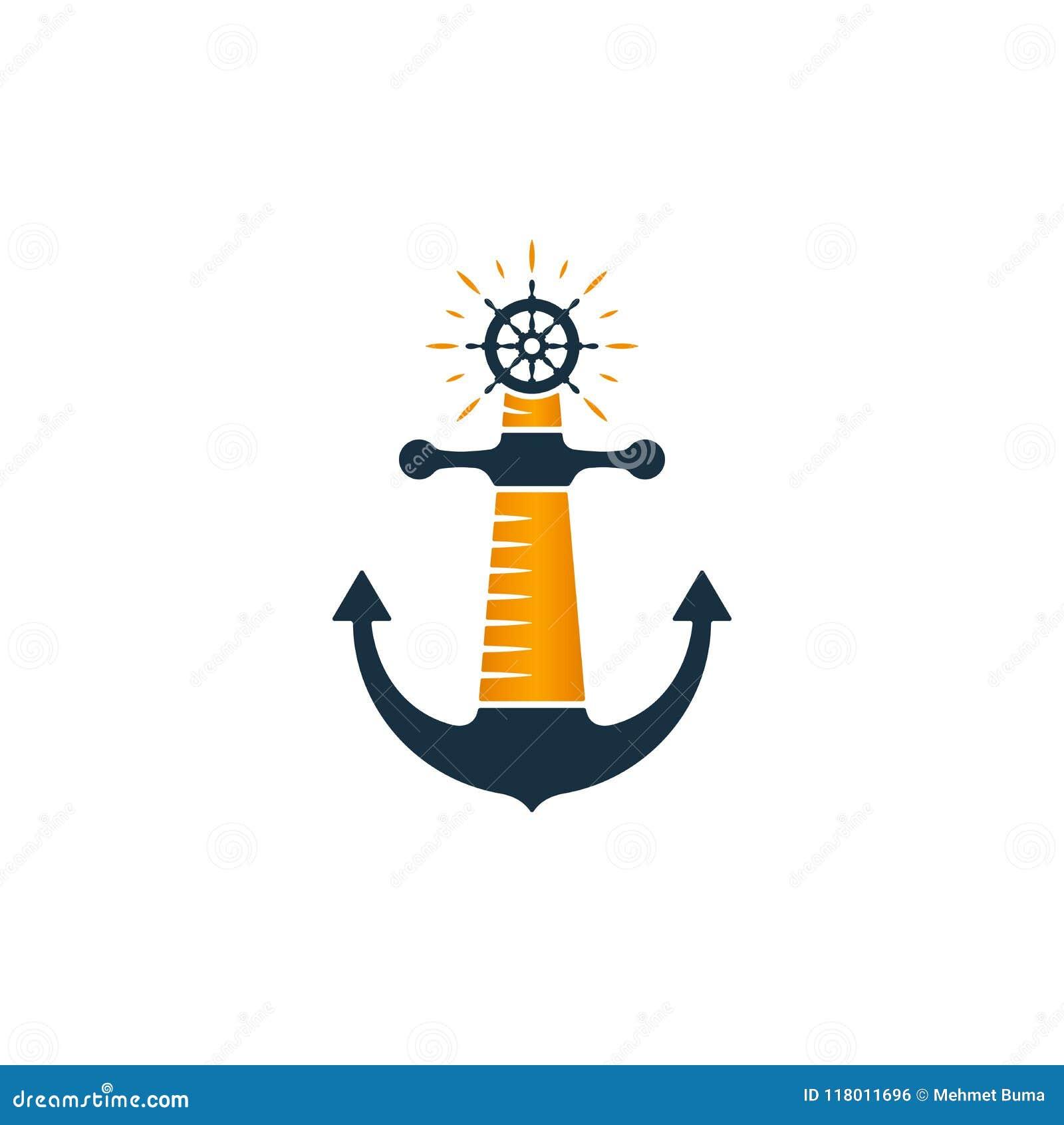 灯塔商标 传染媒介灯塔、船锚和船轮子