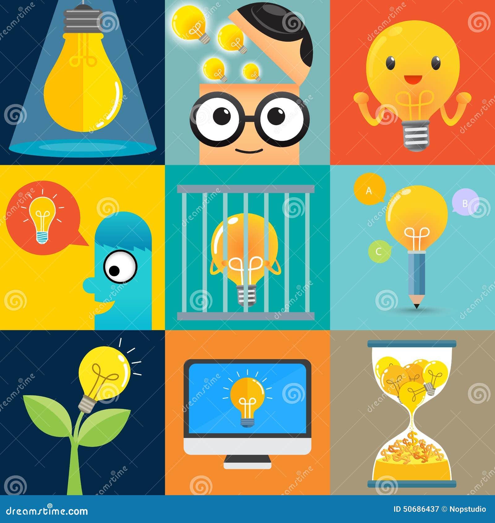 Download 灯想法集合 向量例证. 插画 包括有 人力, 想象力, 聪明, 极大, 启发, 头脑, 商业, 数字式, 设计 - 50686437