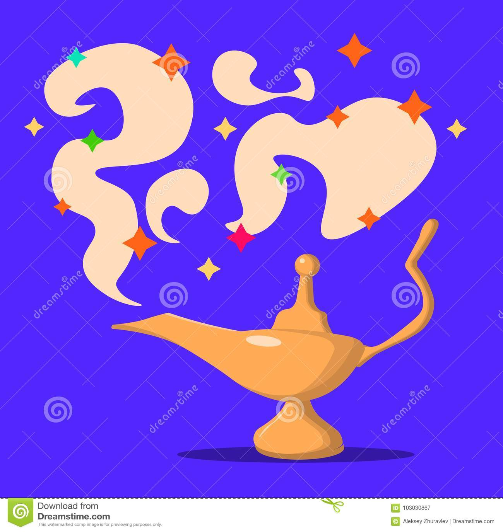 灯阿拉丁用杜松子酒,阿拉丁不可思议的灯  平的设计,传染媒介例证