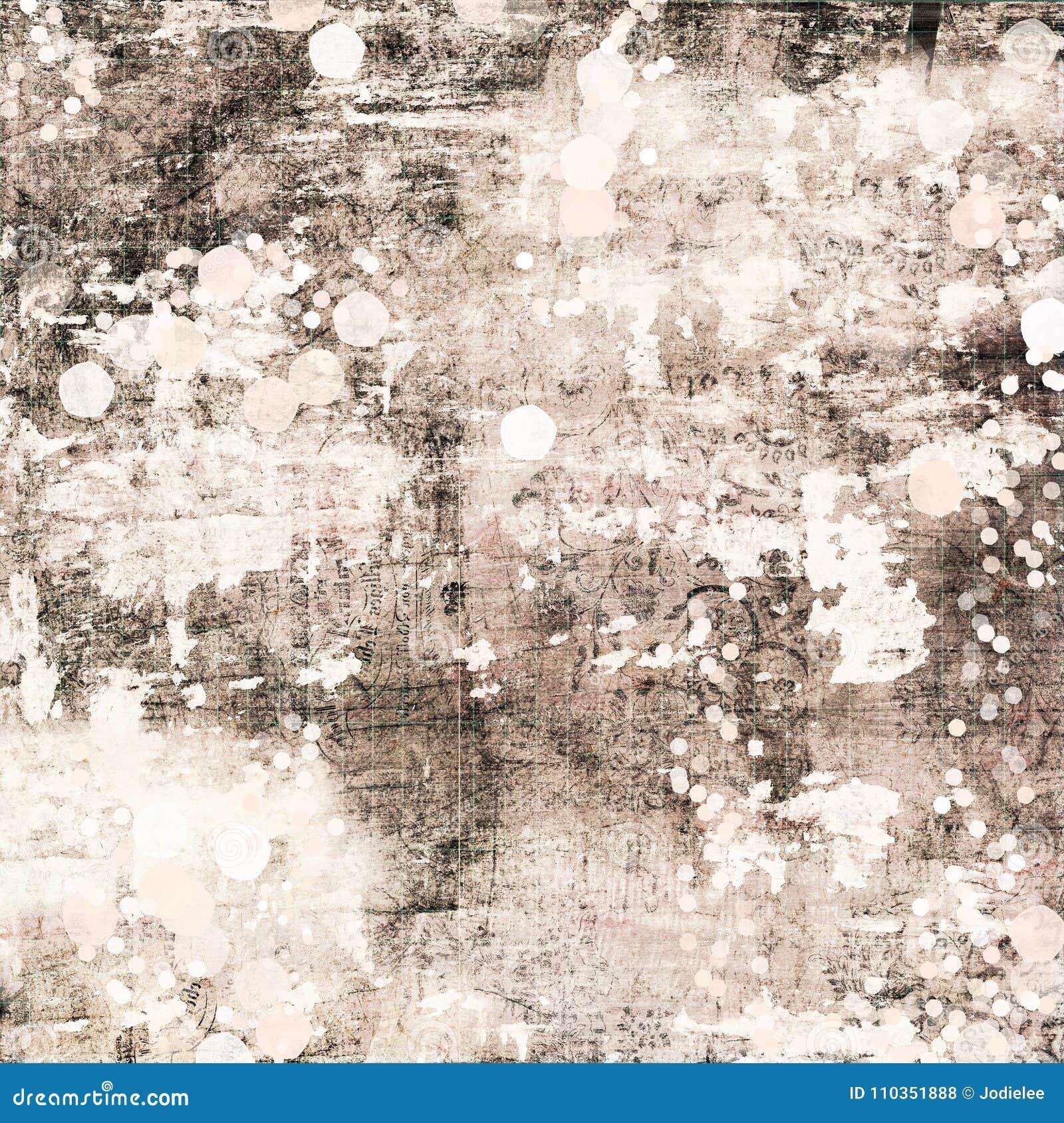 灰棕色和布朗古色古香的破旧的别致的脏的摘要绘了背景困厄的纹理