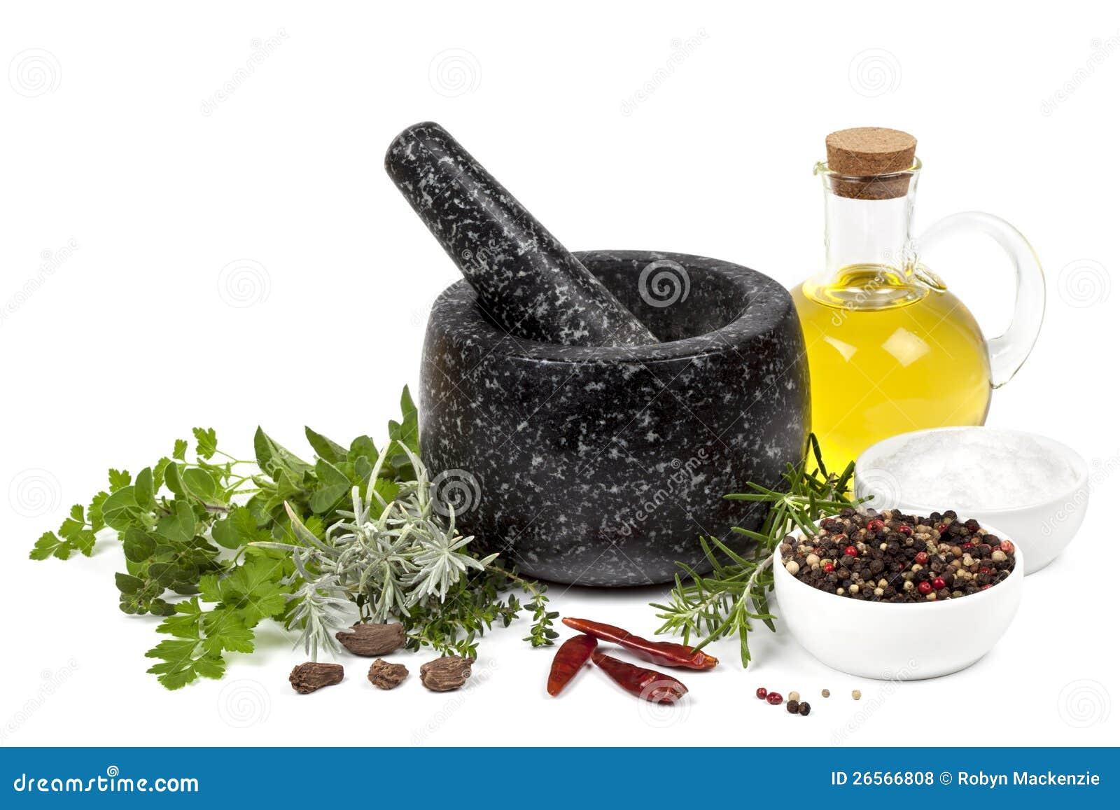 灰浆和杵用草本和香料