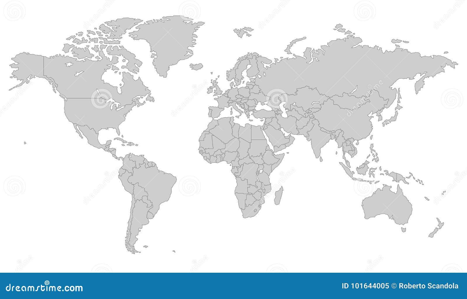灰色传染媒介世界地图 向量例证. 插画 包括有 空白, 映射, 黑暗, 艺术, 灰色, 国家(地区), 行星