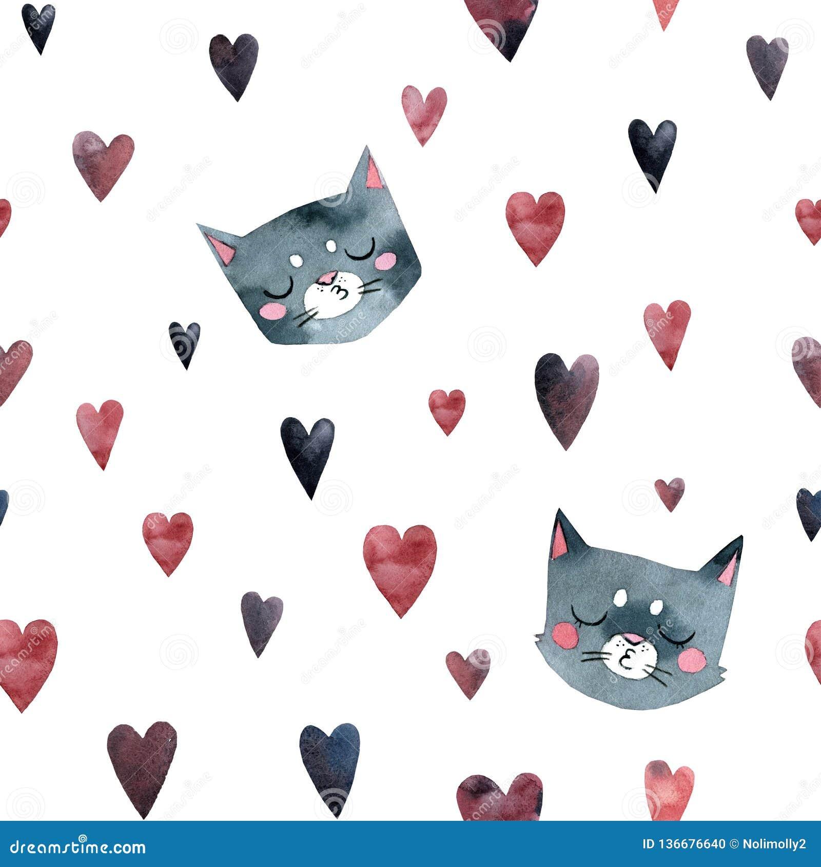 灰色逗人喜爱的猫亲吻,许多一点心脏,无缝的样式