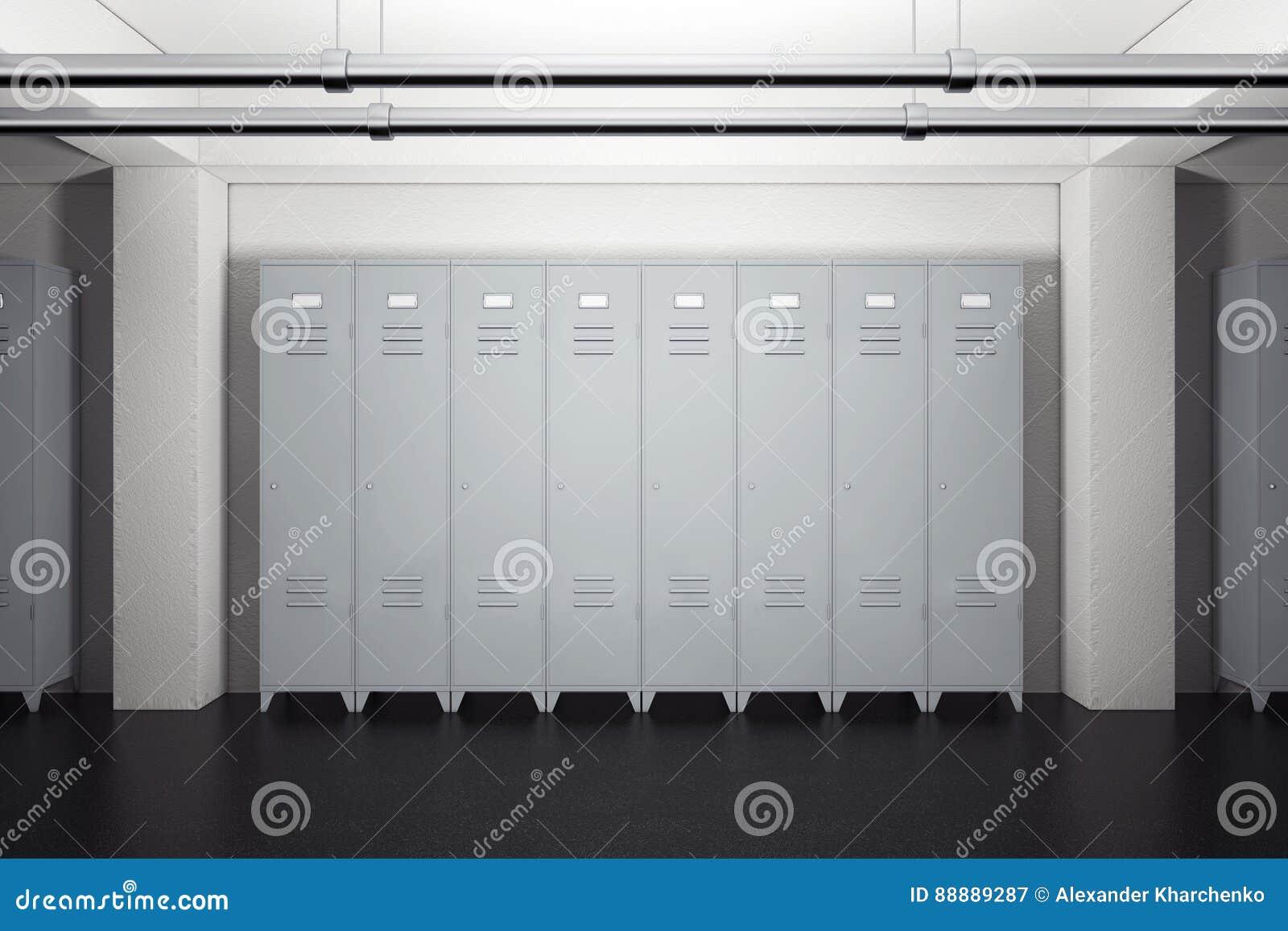 灰色金属衣物柜在更衣室 3d翻译