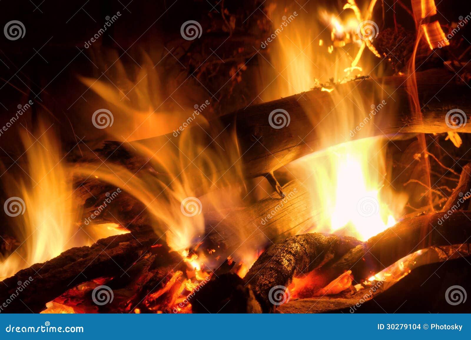 灼烧的木特写镜头