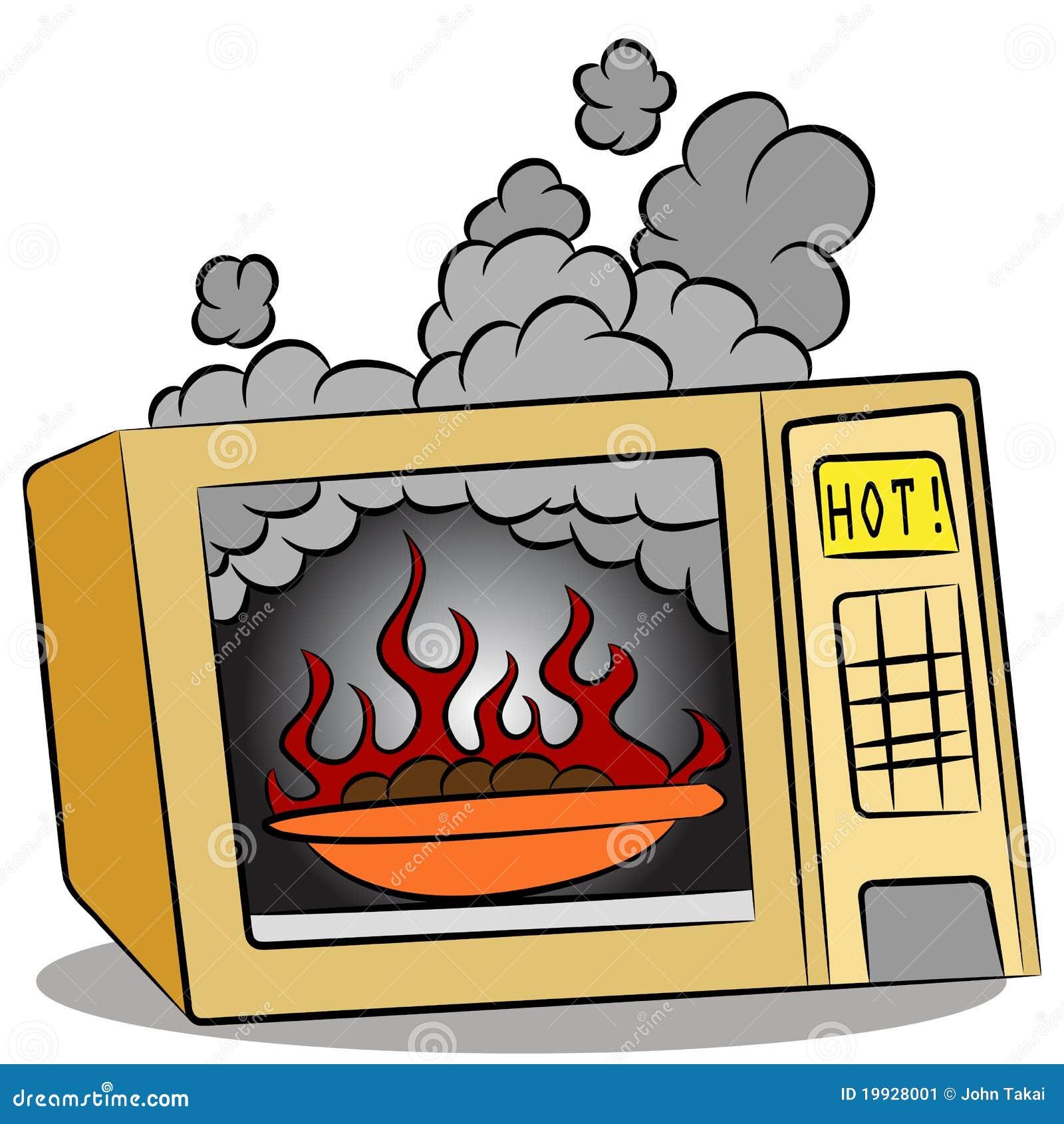 灼烧的食物微波炉