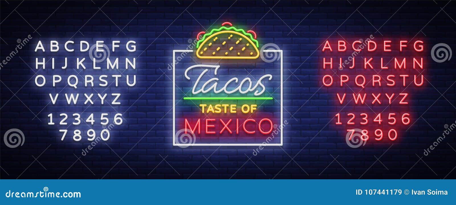 炸玉米饼商标传染媒介 在墨西哥食物,炸玉米饼,街道食物,快餐,快餐的霓虹灯广告 明亮的霓虹广告牌,发光