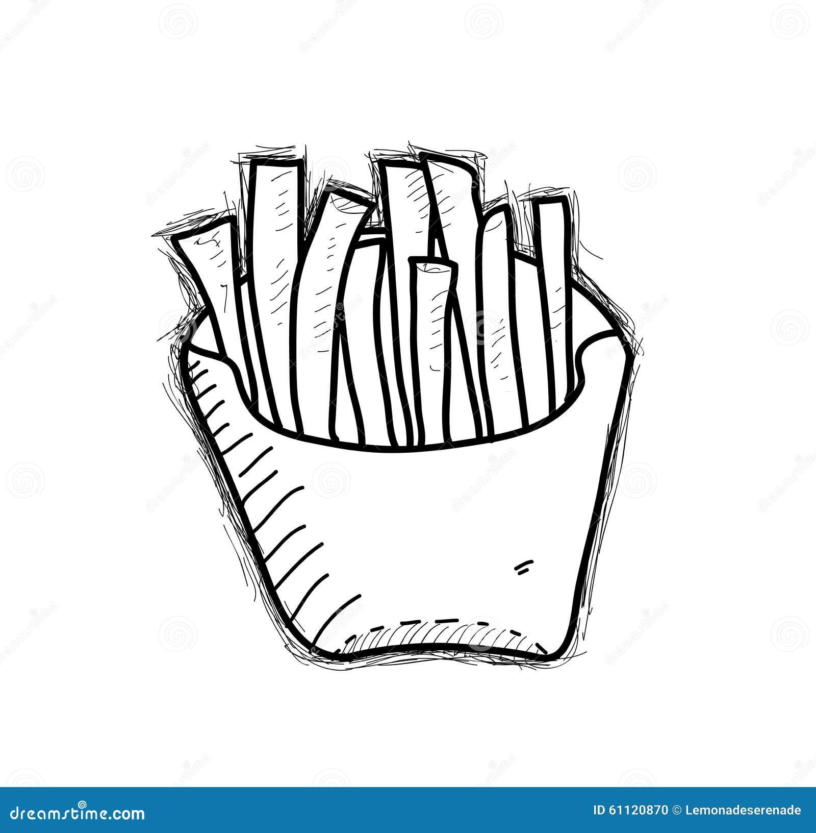 一个手拉的传染媒介乱画例证炸薯条.图片