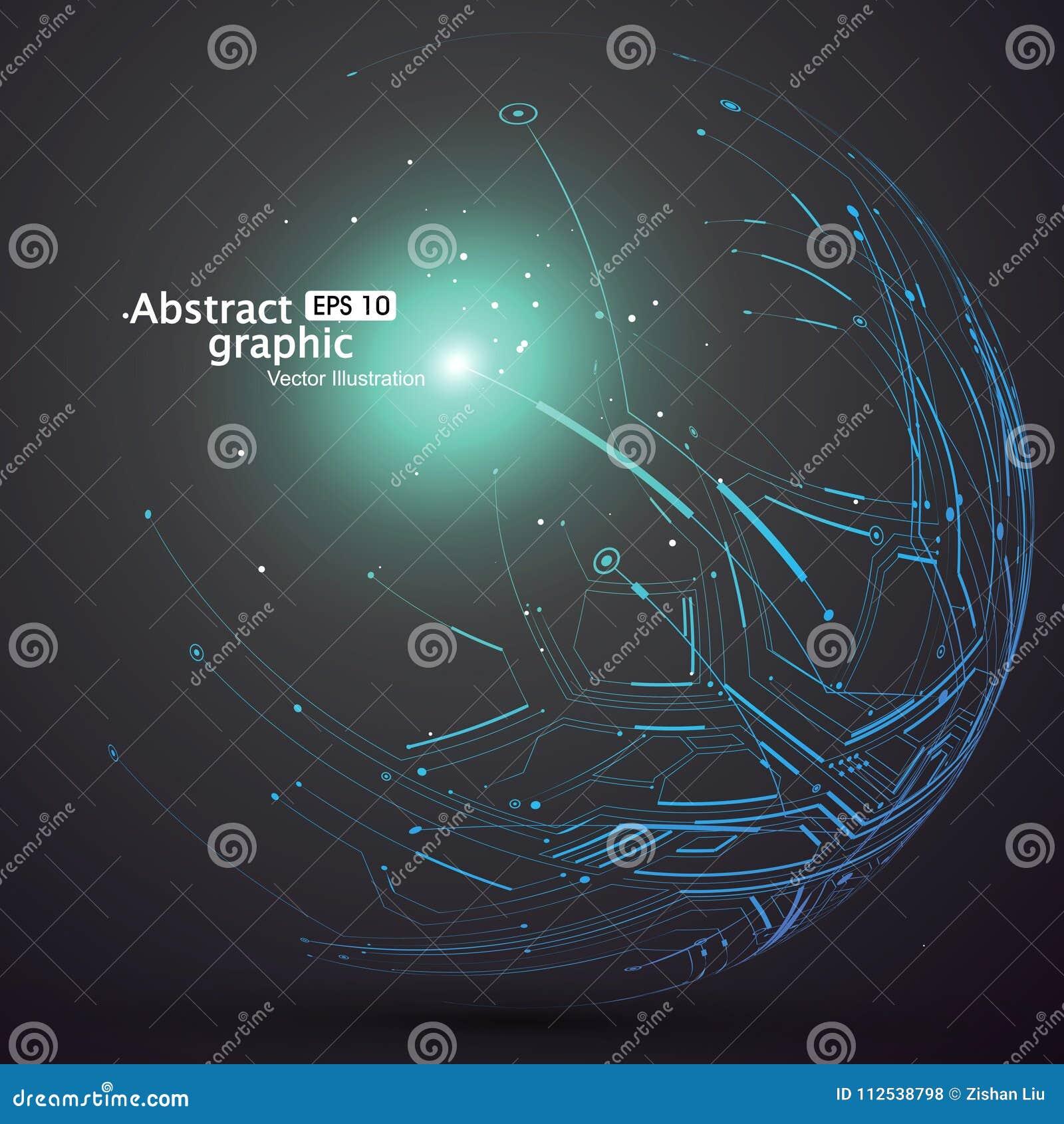 点和曲线修建了球形wireframe,技术感觉摘要例证