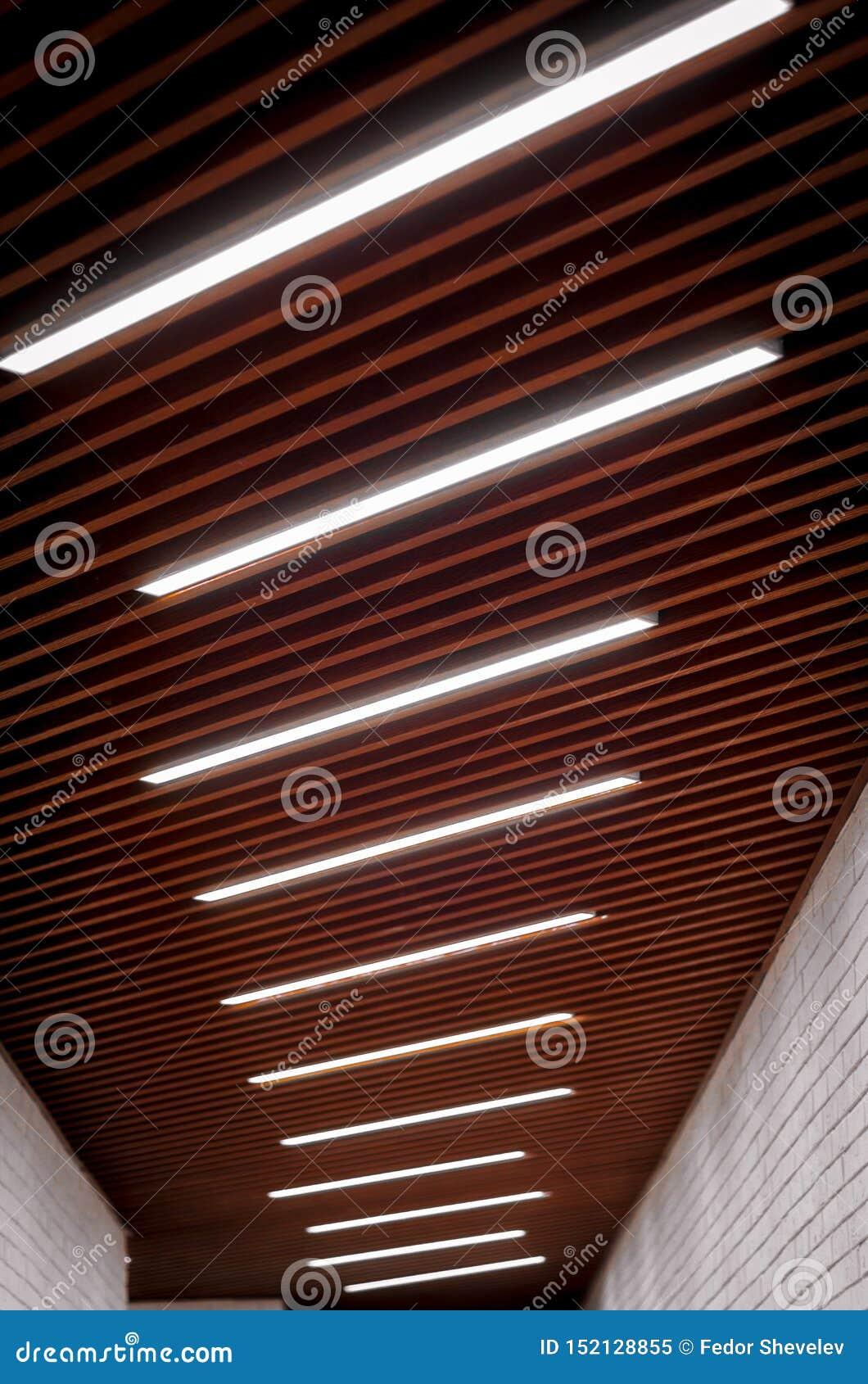 点燃在天花板的灯在走廊