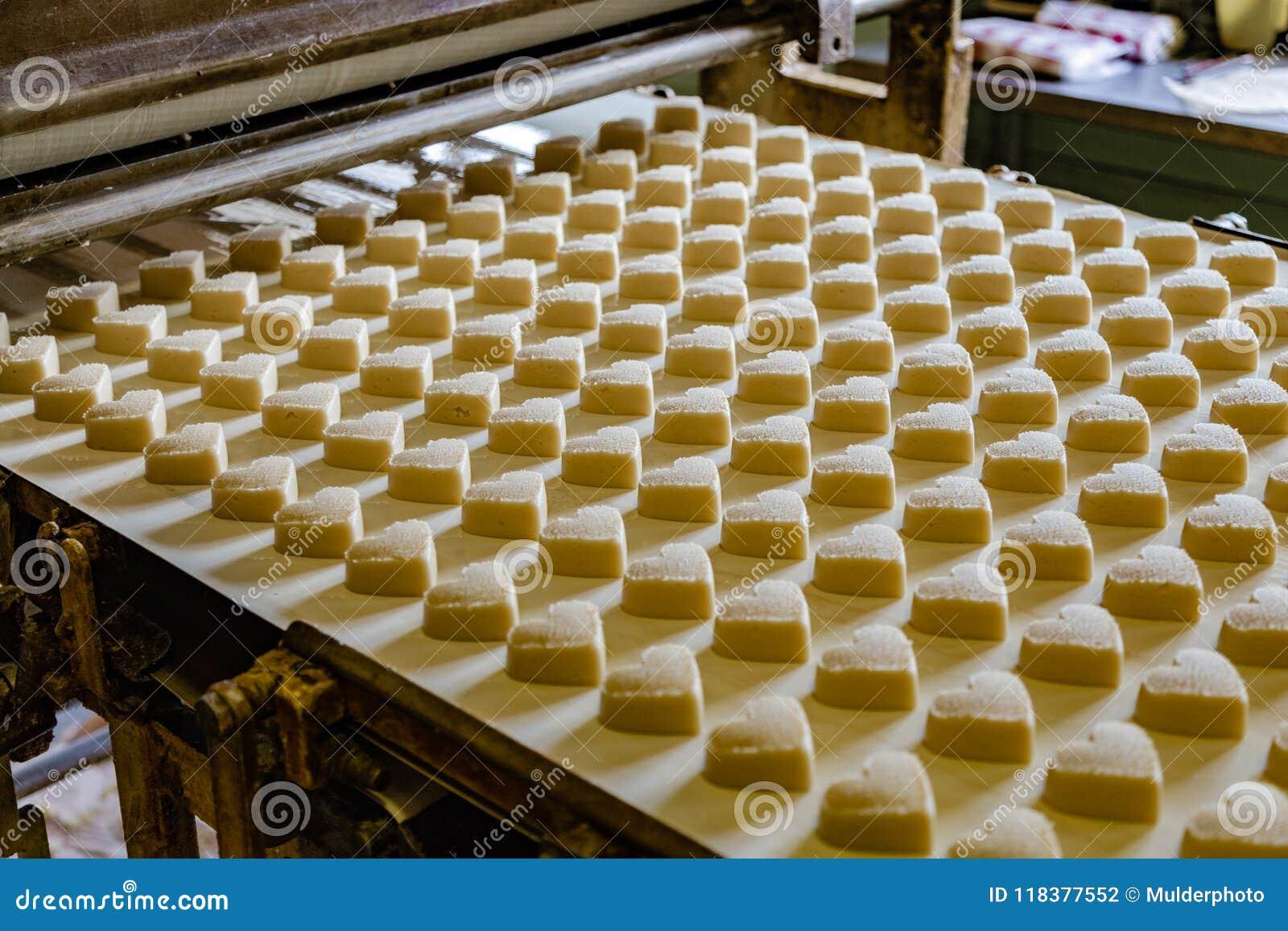 烘烤生产线 未加工的未煮过的曲奇饼以心脏的形式在形成去以后的烤箱由传动机