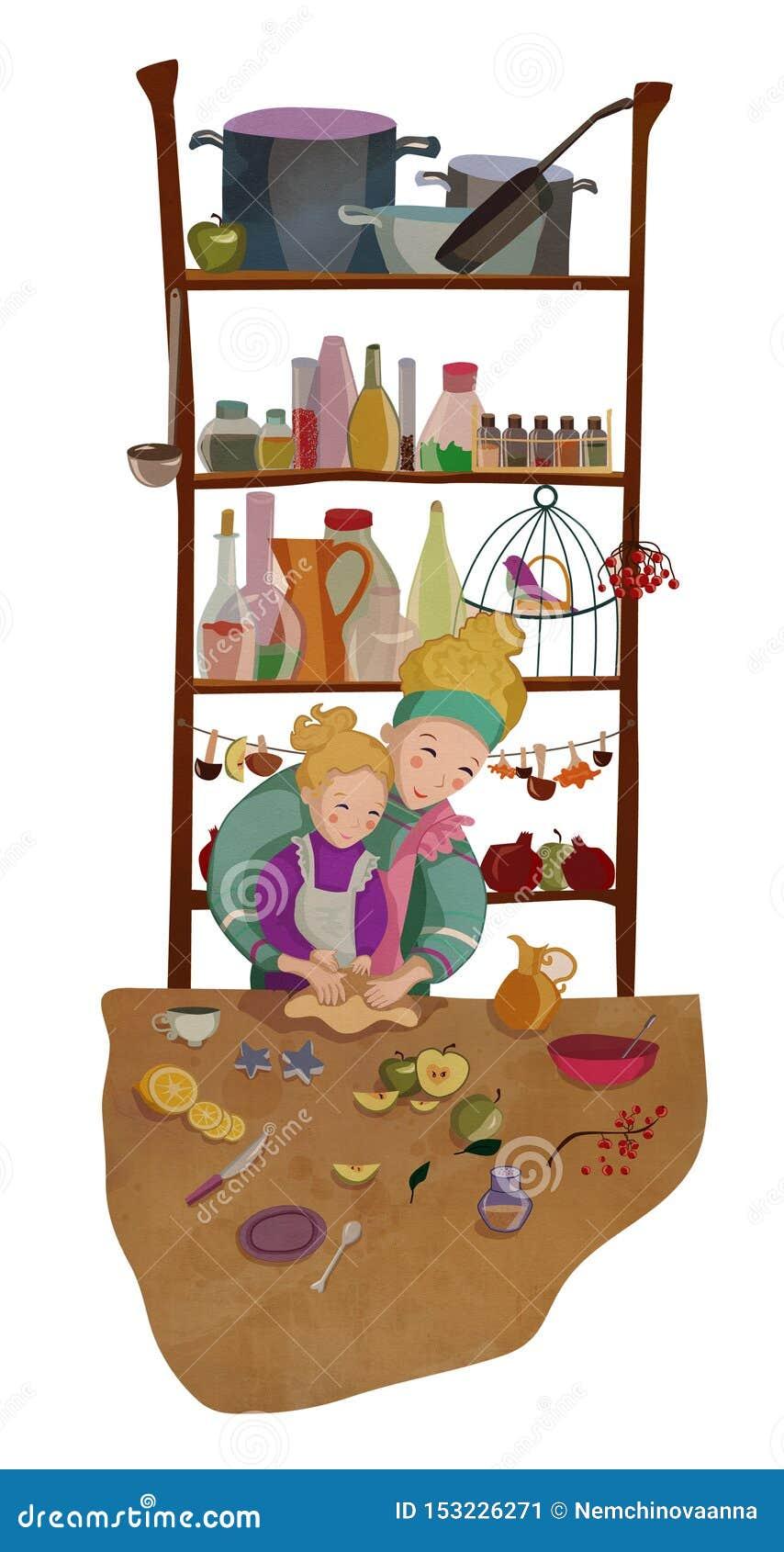 烘烤的母亲和的女儿一起烹调和
