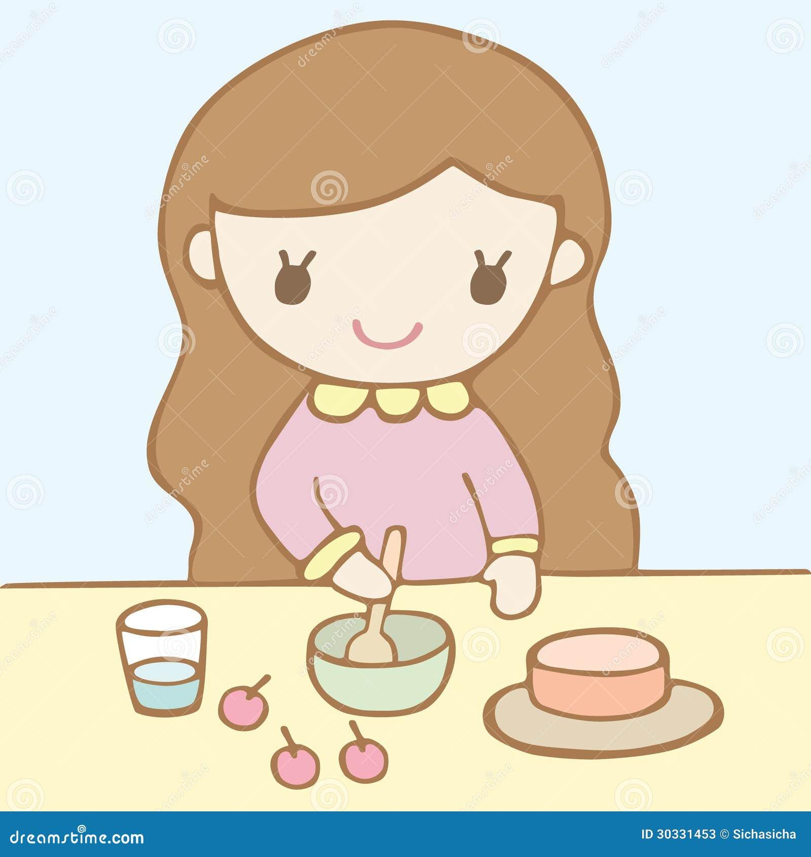 烘烤蛋糕的女孩