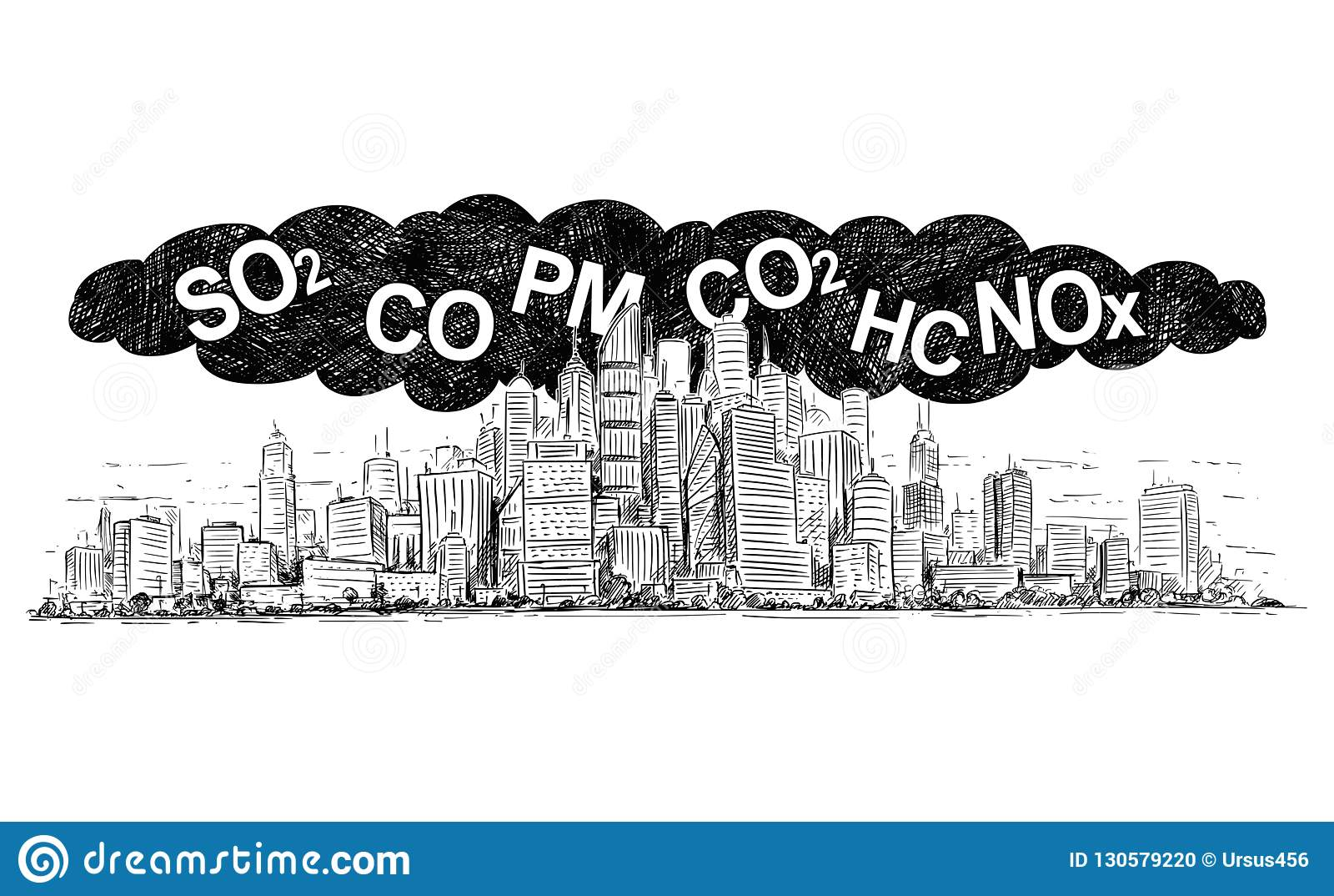 烟和空气污染包括的城市的传染媒介艺术性的画的例证