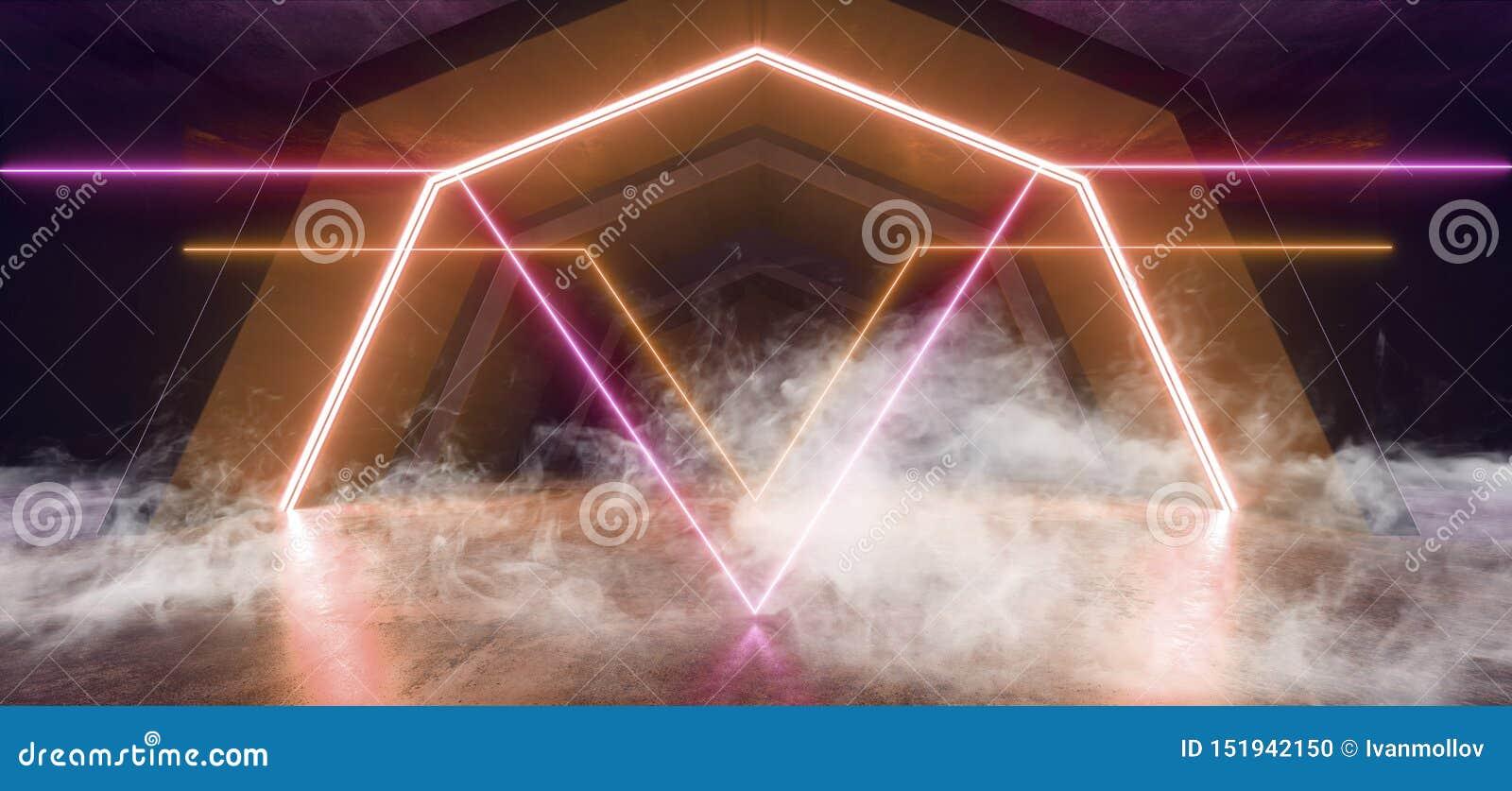 烟未来派科学幻想小说曲拱橙色紫色激光霓虹灯发光的黑暗的难看的东西反射性具体隧道走廊走廊外籍人