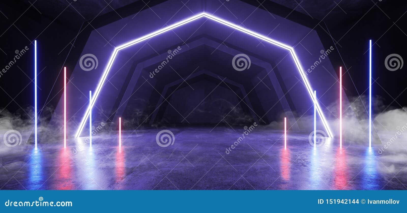 烟未来派科学幻想小说曲拱紫色蓝色激光霓虹灯发光的黑暗的难看的东西反射性具体隧道走廊走廊外籍人