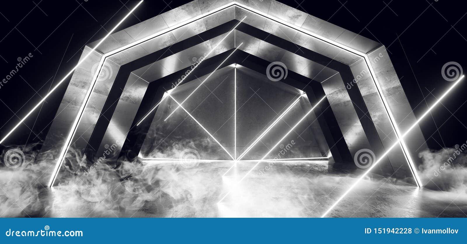 烟未来派科学幻想小说曲拱WhiteLaser霓虹灯发光的黑暗的难看的东西反射性具体隧道走廊走廊外籍人