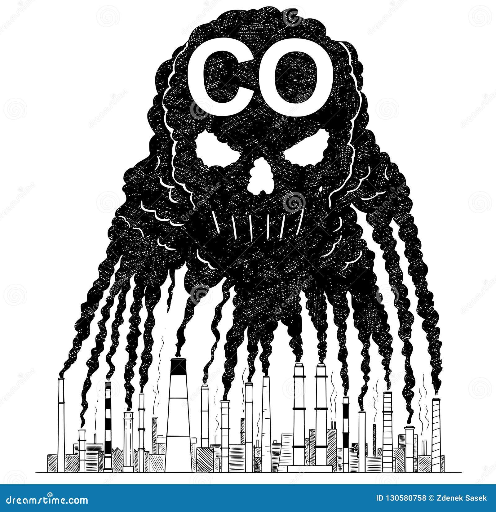 烟的传染媒介艺术性的画的例证从创造人的头骨,CO空气污染的概念的烟窗的