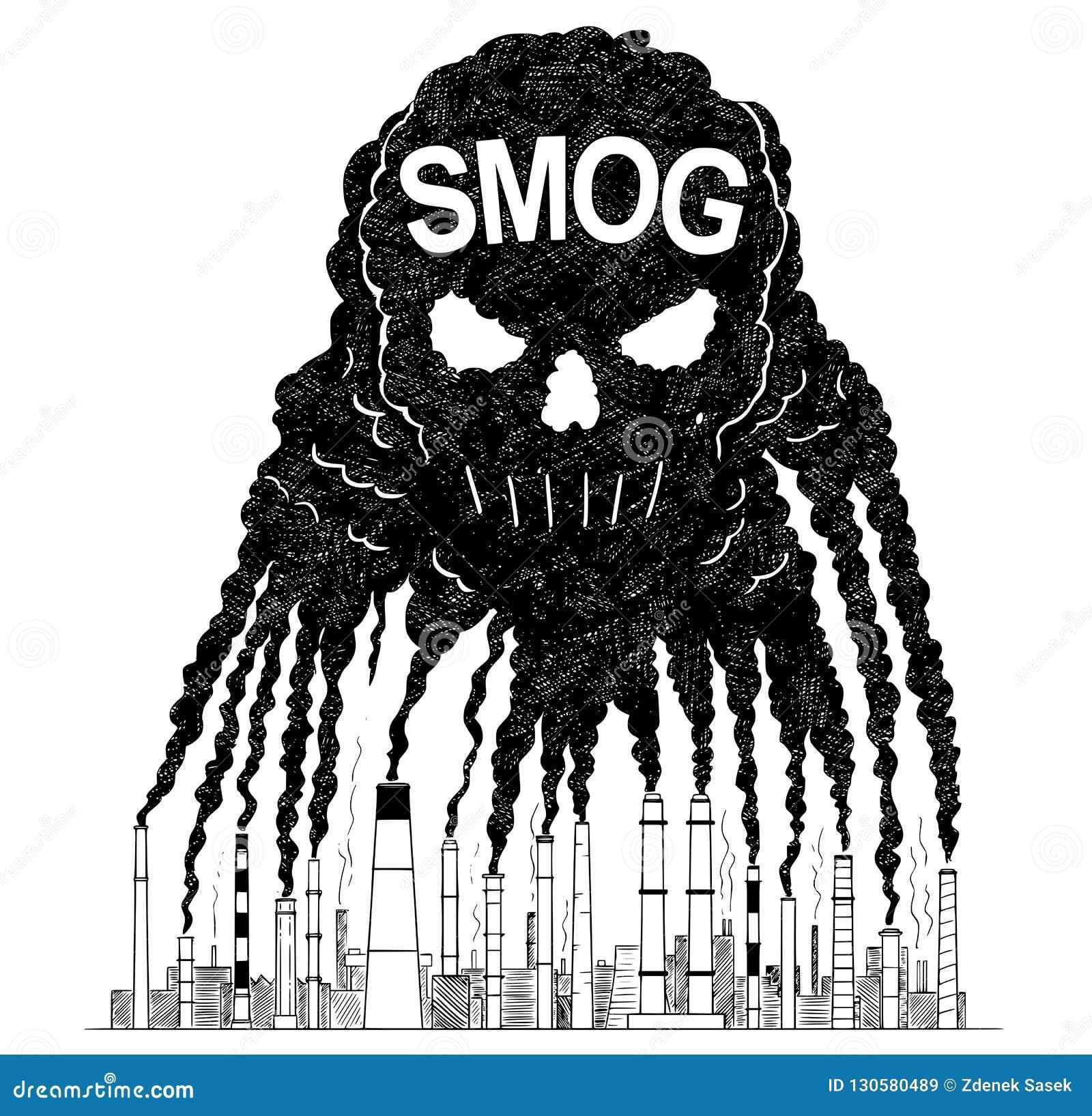 烟的传染媒介艺术性的画的例证从创造人的毒性烟雾的头骨、概念和空气的烟窗的