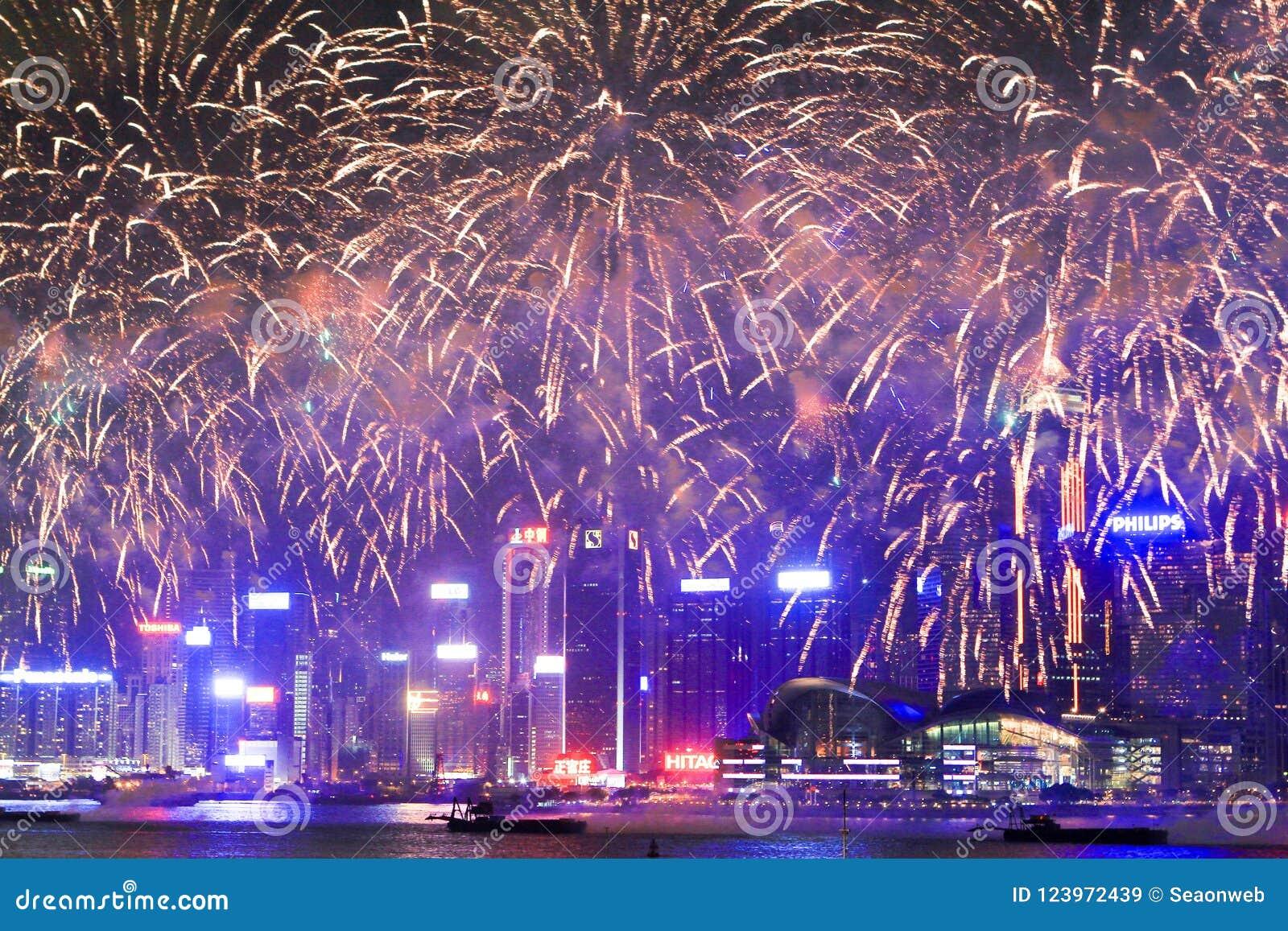 烟花在hk海岛、地平线和财政区,
