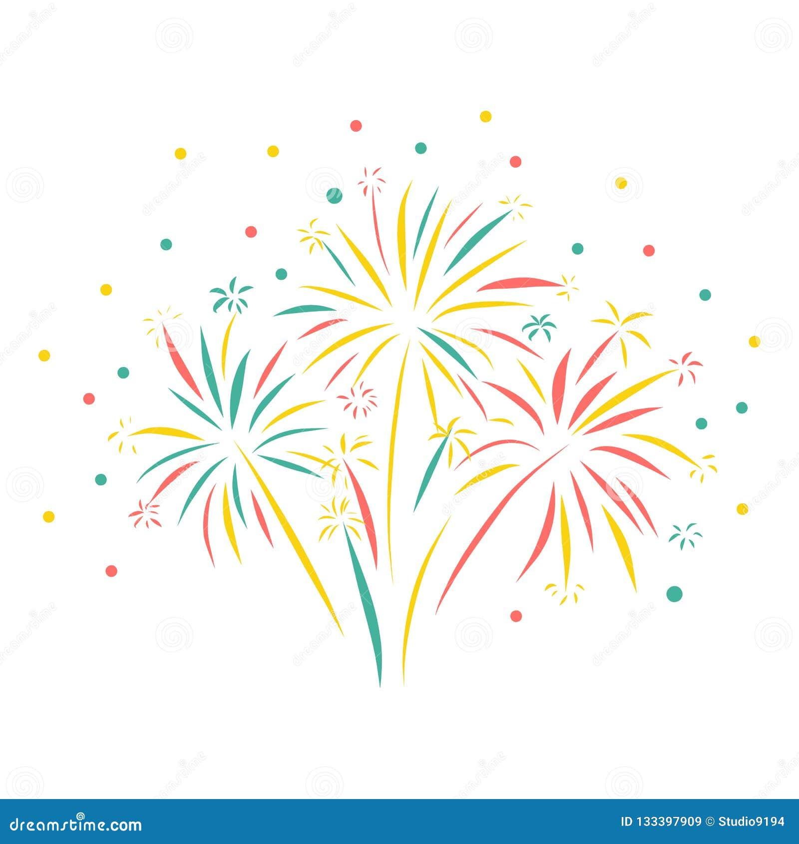 烟花手拉的传染媒介例证隔绝了 五颜六色的烟花场面 贺卡,新年快乐,庆祝,周年