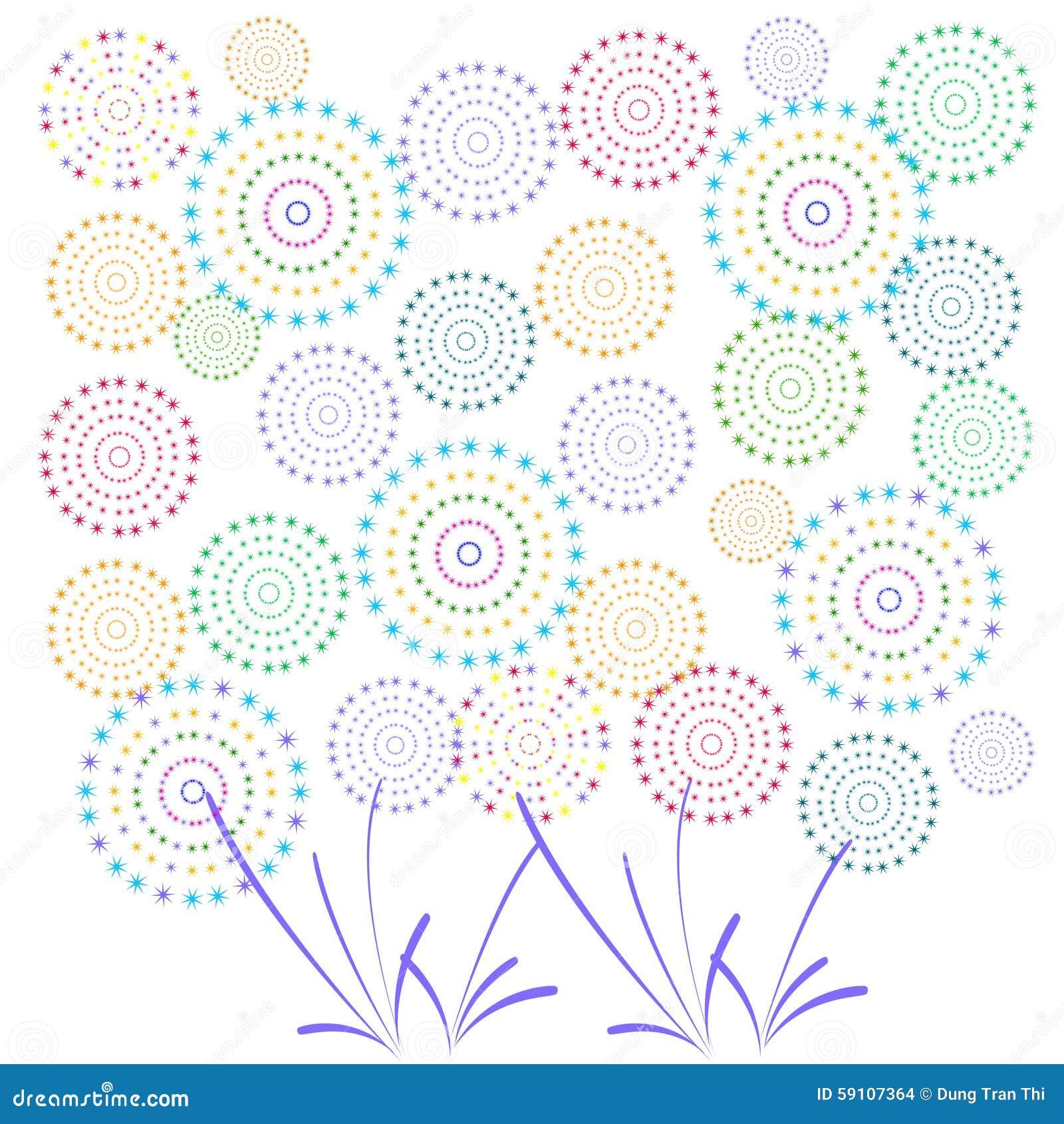 烟花显示新年和所有庆祝例证