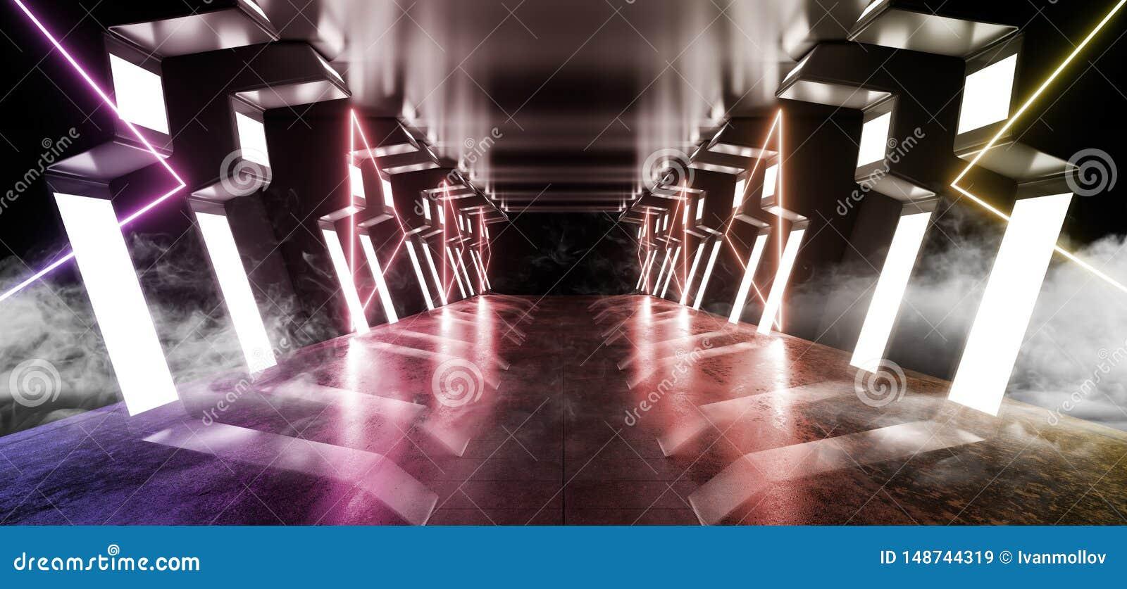 烟走廊太空飞船真正未来派科学幻想小说现代光滑的金属反射性外籍人入口走廊隧道黑暗的激光