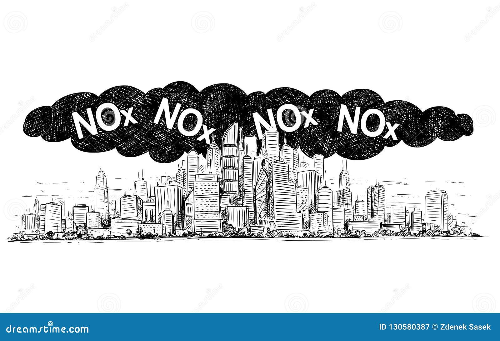 烟雾和氧化氮或氮化物空气污染包括的城市的传染媒介艺术性的画的例证