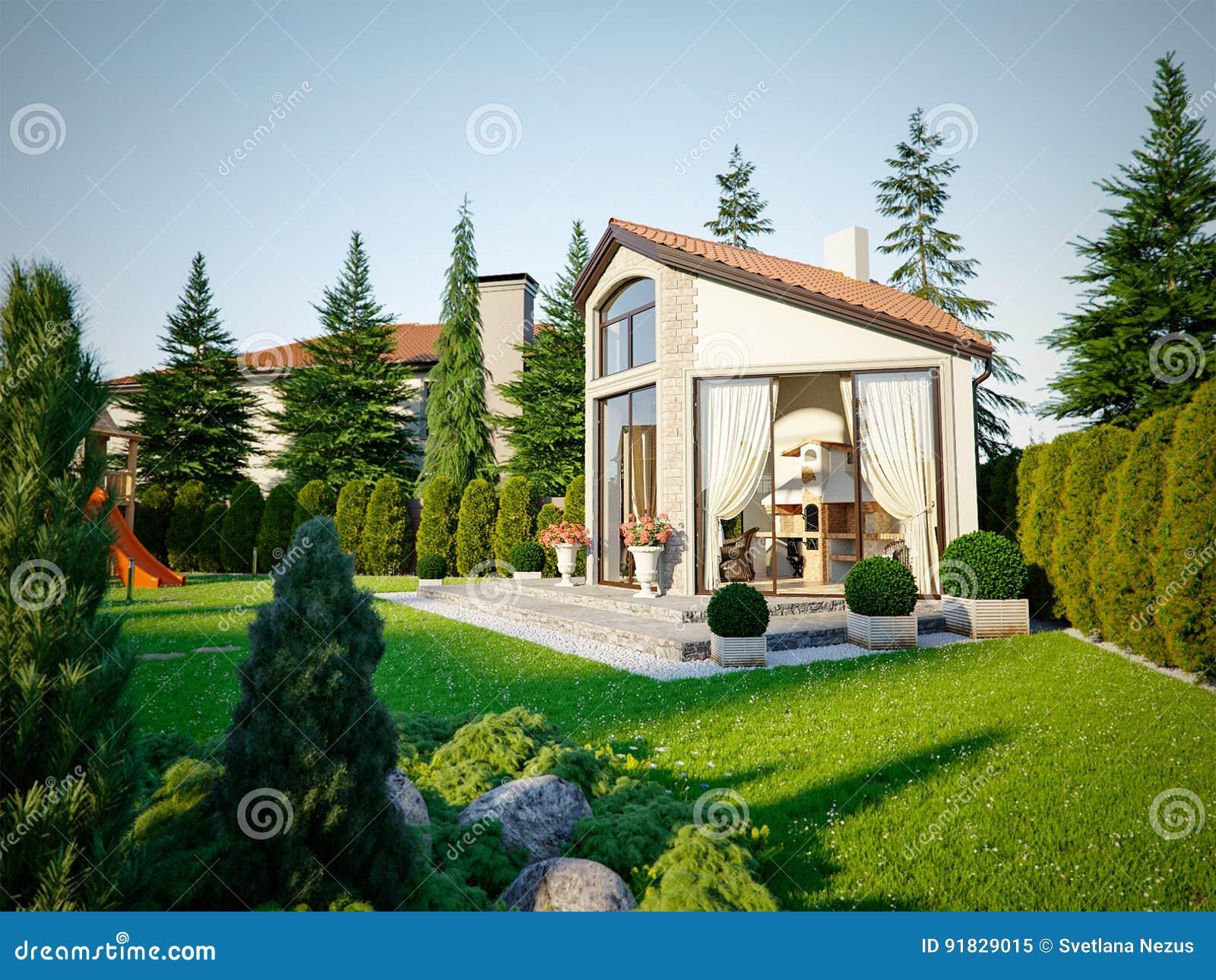 插画 包括有 设计, 房子, 庭院, 自定义, 庄园, 花圃, 邻里图片