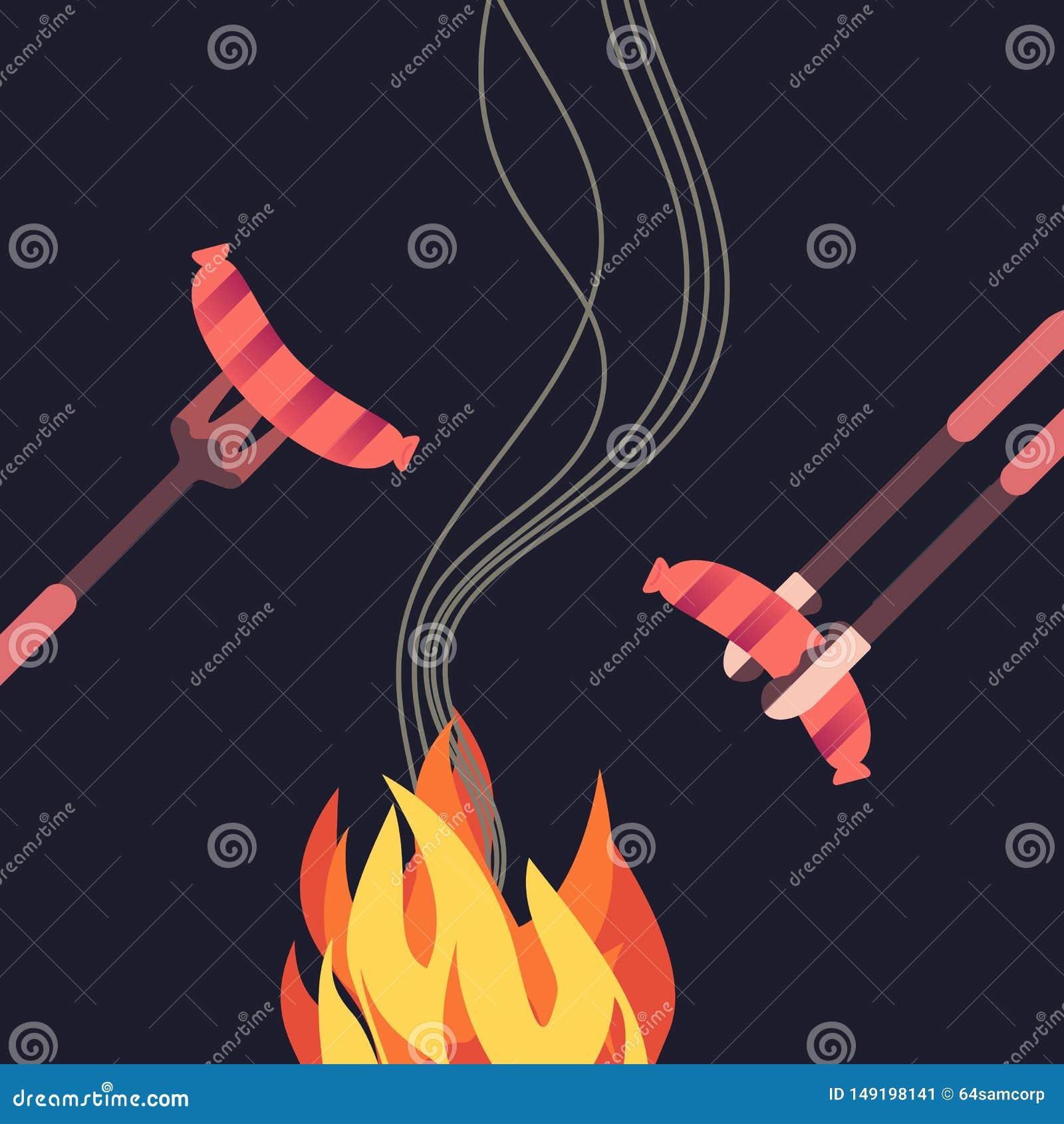 烤香肠简单的平的颜色象
