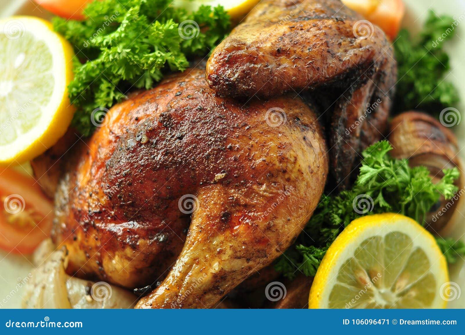 烤鸡背景可口西部食物