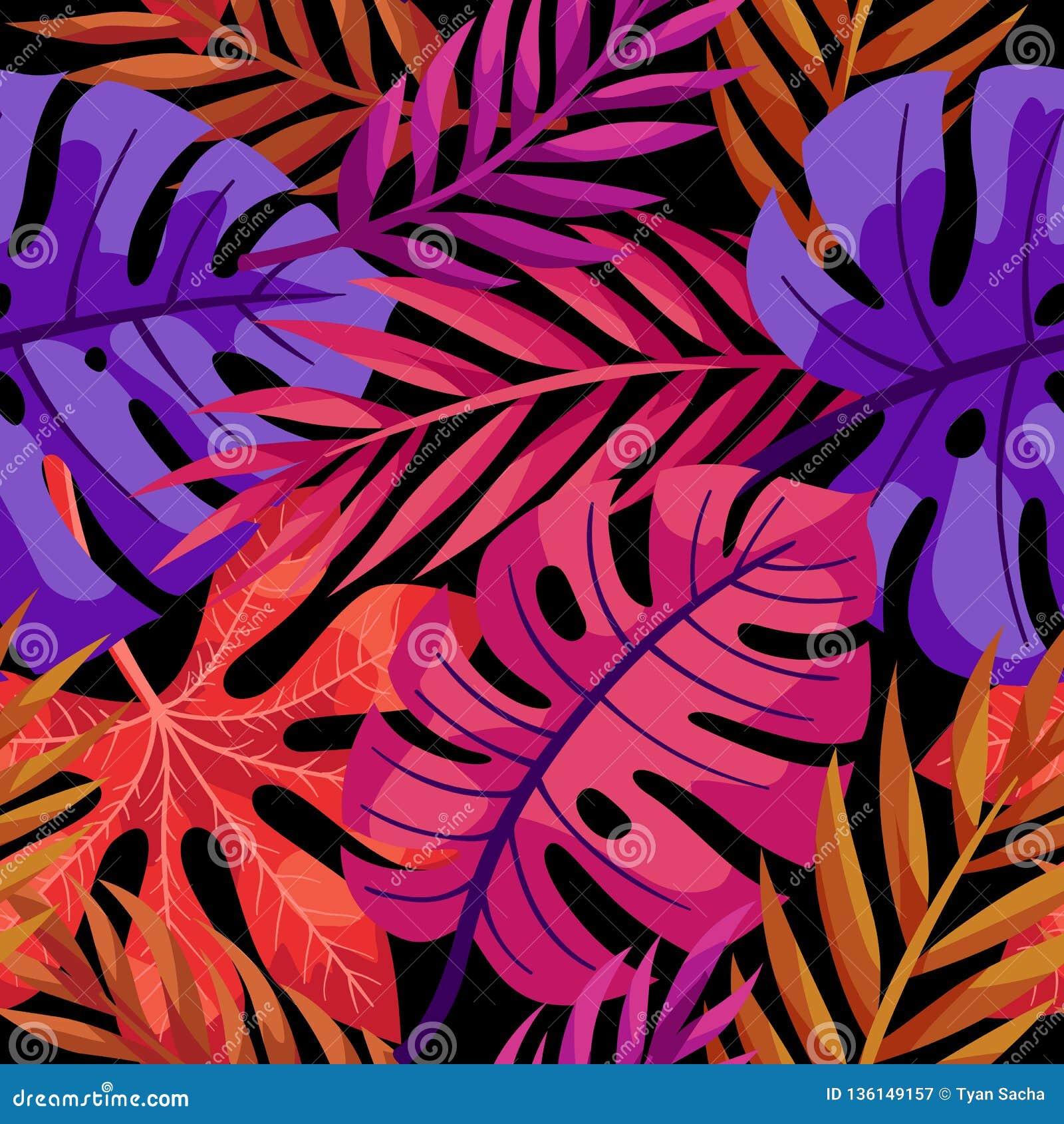 热带传染媒介五颜六色的叶子无缝的样式