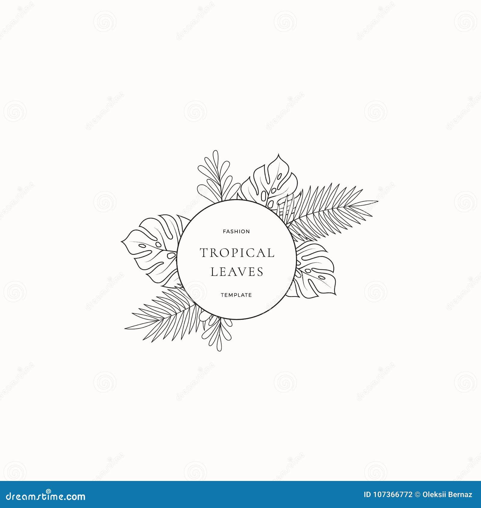 热带叶子时尚精品店标志或商标模板 与圈子边界的抽象Monstera叶子和优等