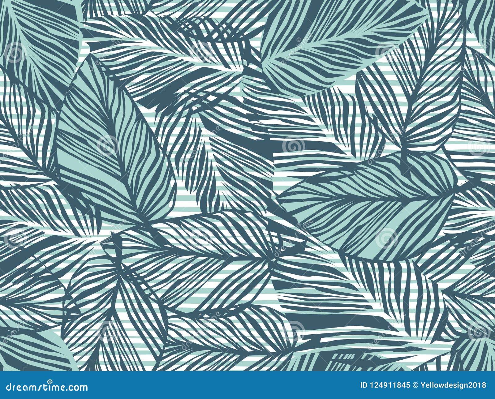 热带样式,棕榈叶无缝的传染媒介花卉背景 条纹印刷品例证的异乎寻常的植物 夏天自然密林