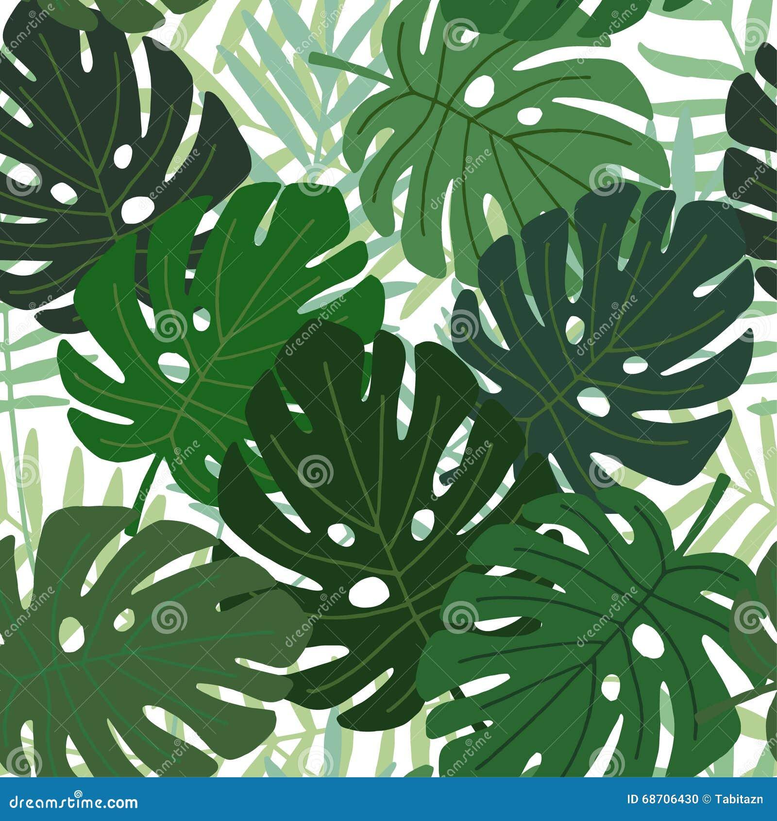 热带棕榈和monstera叶子无缝的样式,平的设计,例证图片