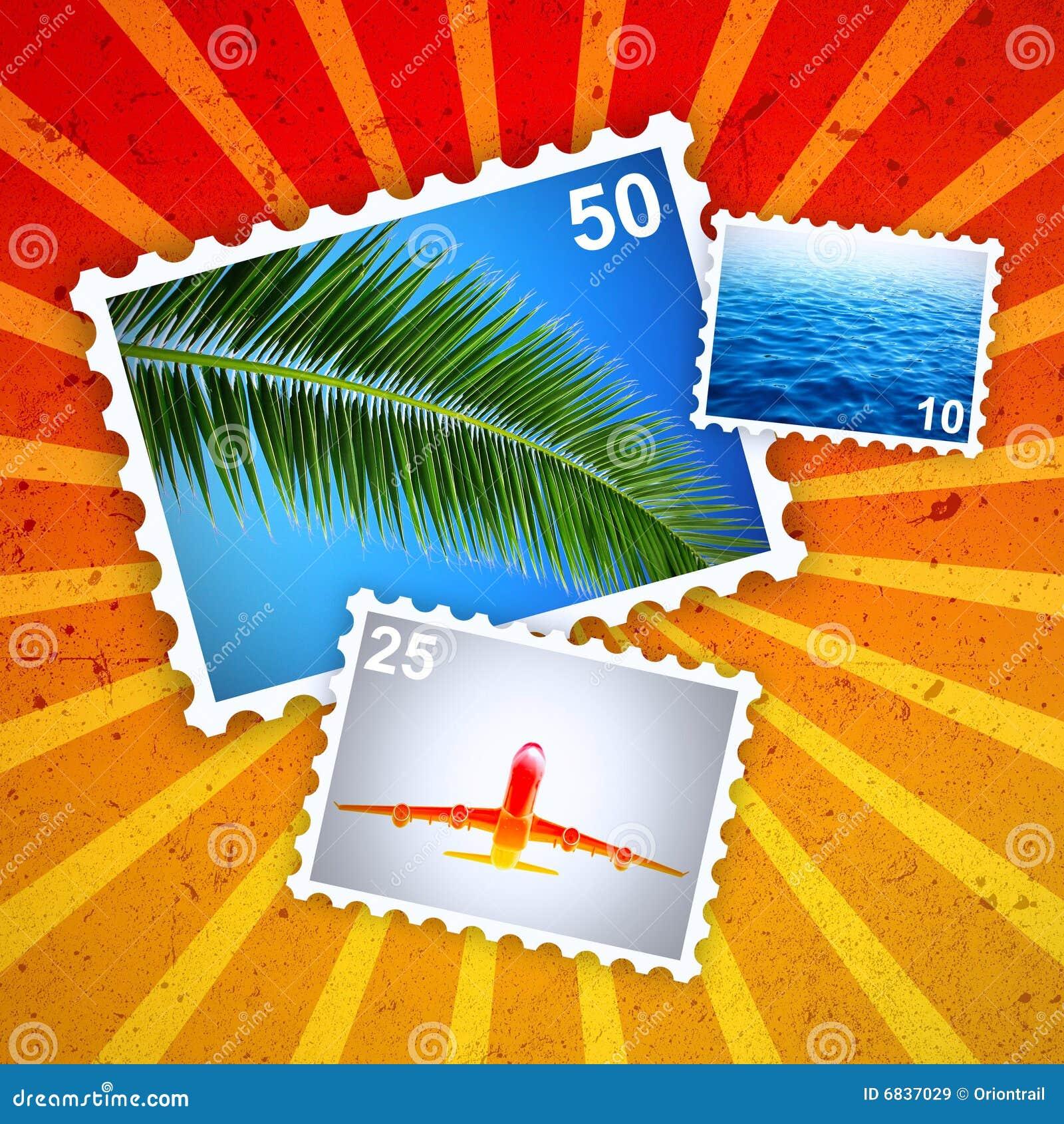 热带邮票的夏天