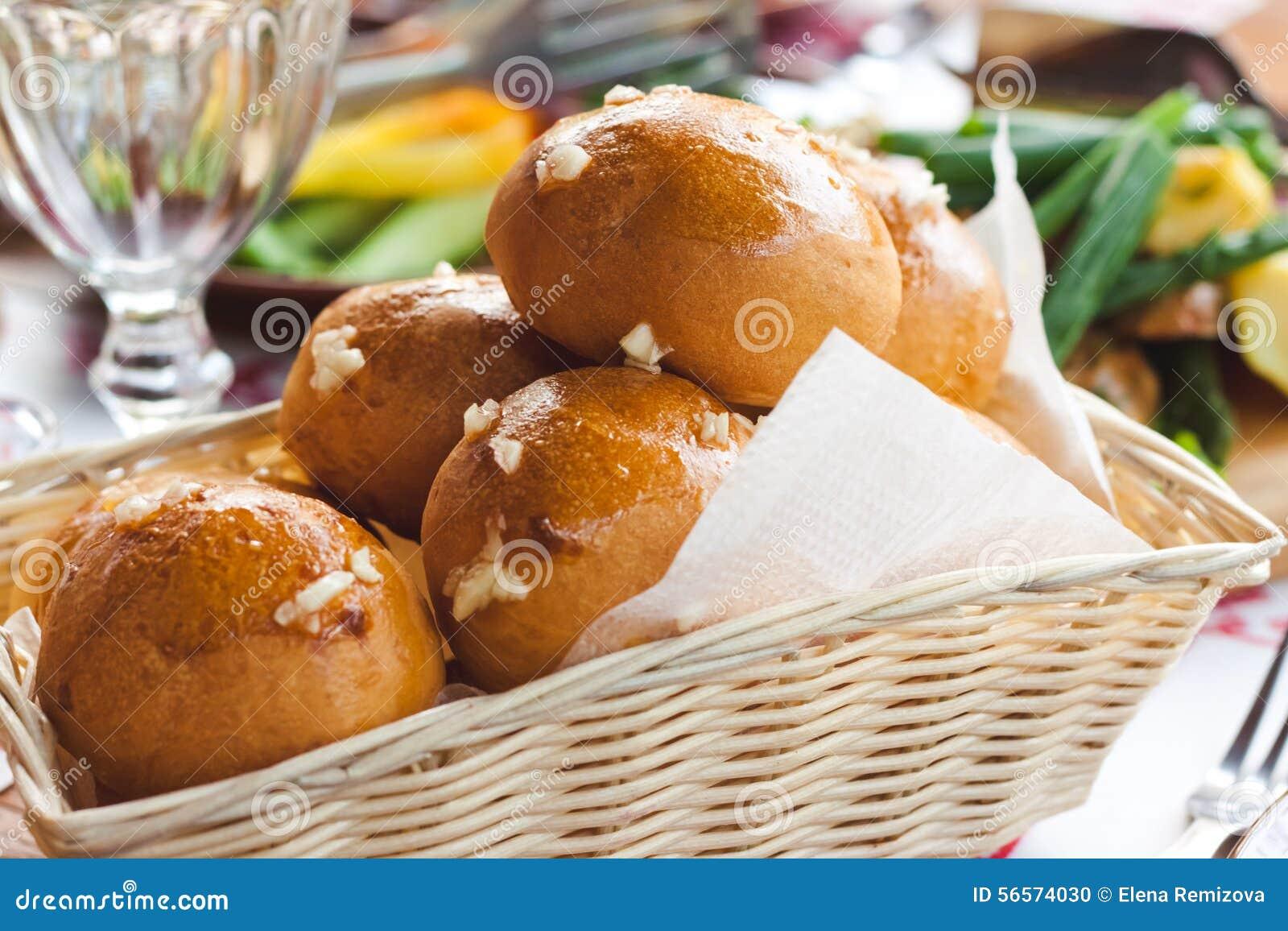 热的新鲜的被烘烤的小圆面包篮子