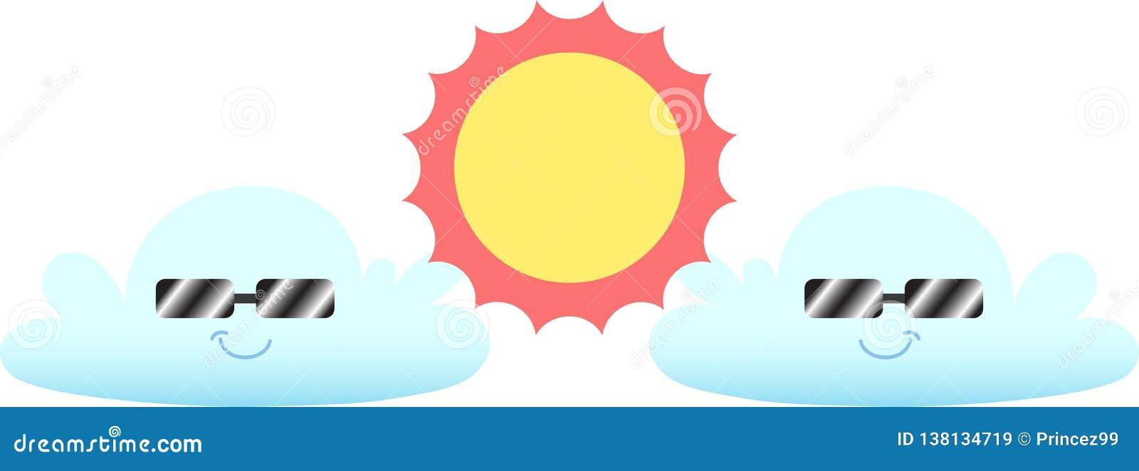 热的晴朗的白天和云彩夫妇