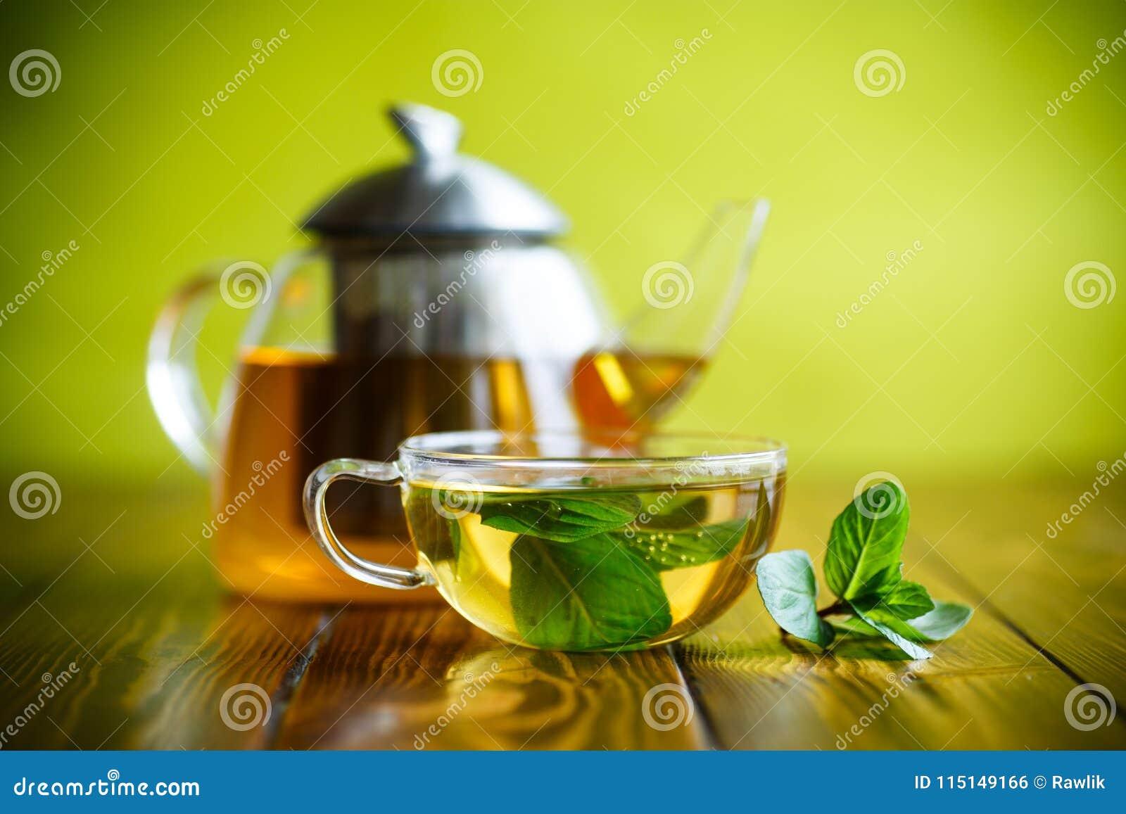 热的绿茶用新鲜薄荷